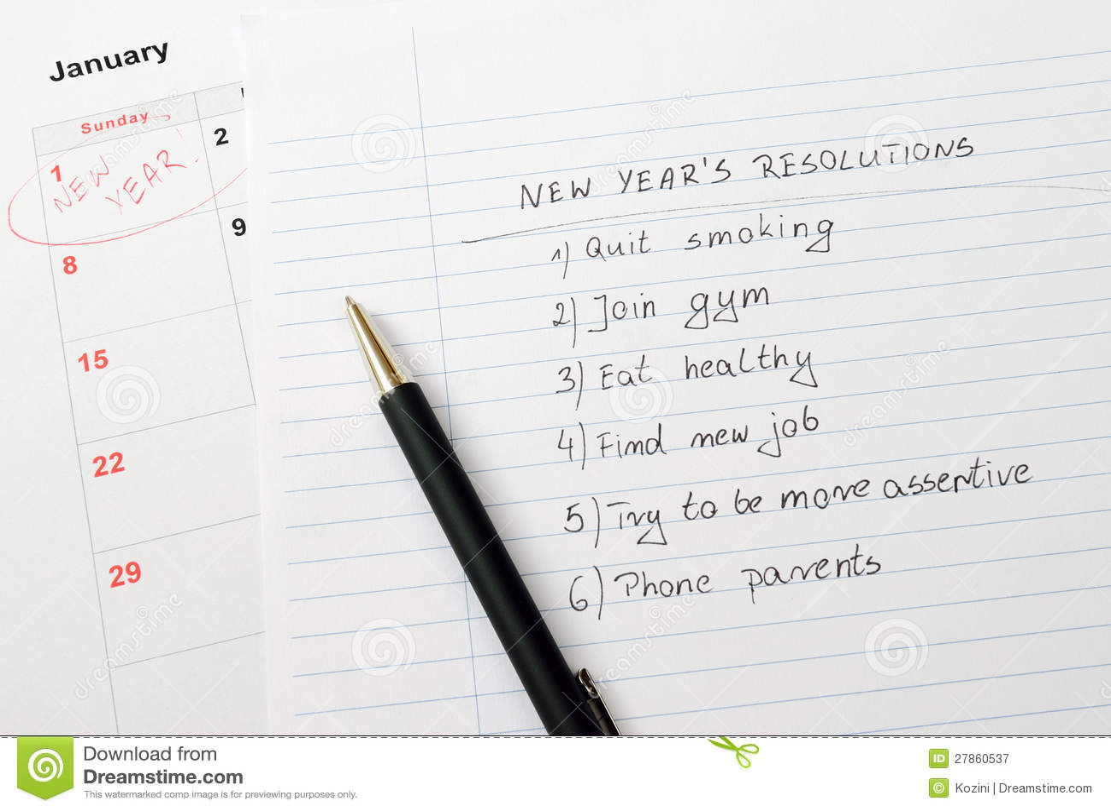 Nowego Roku kalendarz postanowienia i