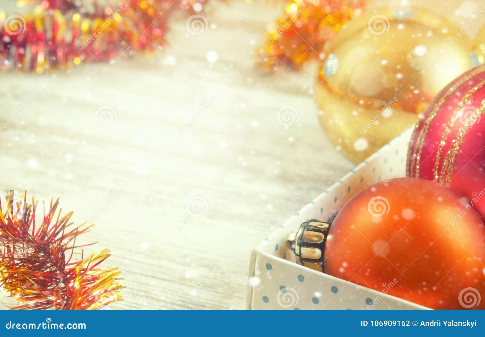 Nowego Roku ` s dekoraci zabawek pudełka drzewna zima