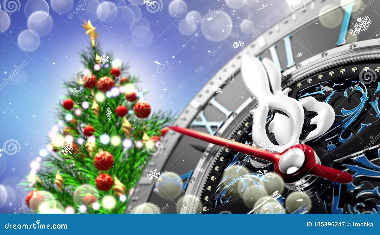 Nowego Roku ` s przy północą - stary zegar z gwiazda płatkami śniegu i wakacji światłami