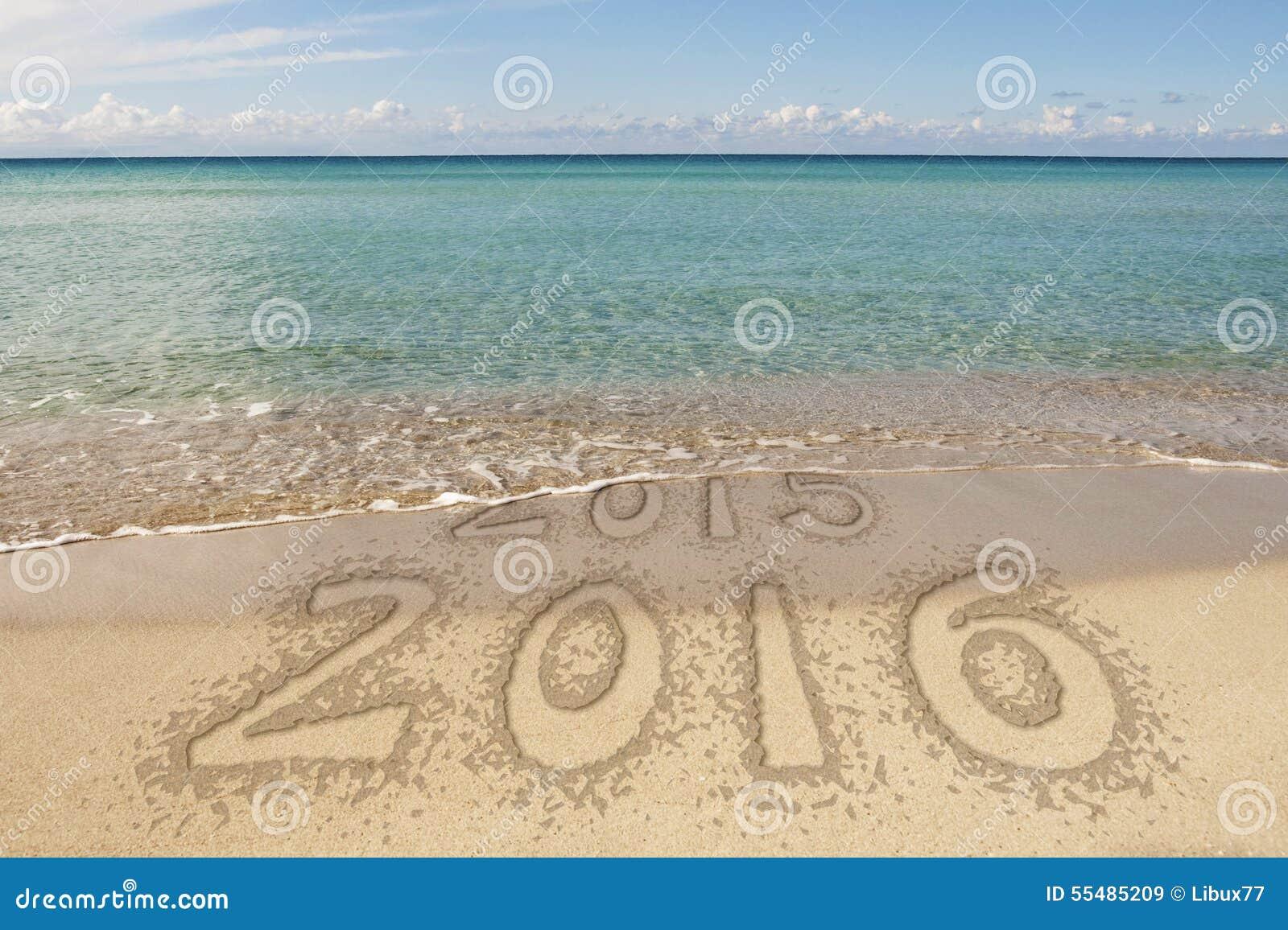 Nowego Roku Waterline teksta 2016 piasek
