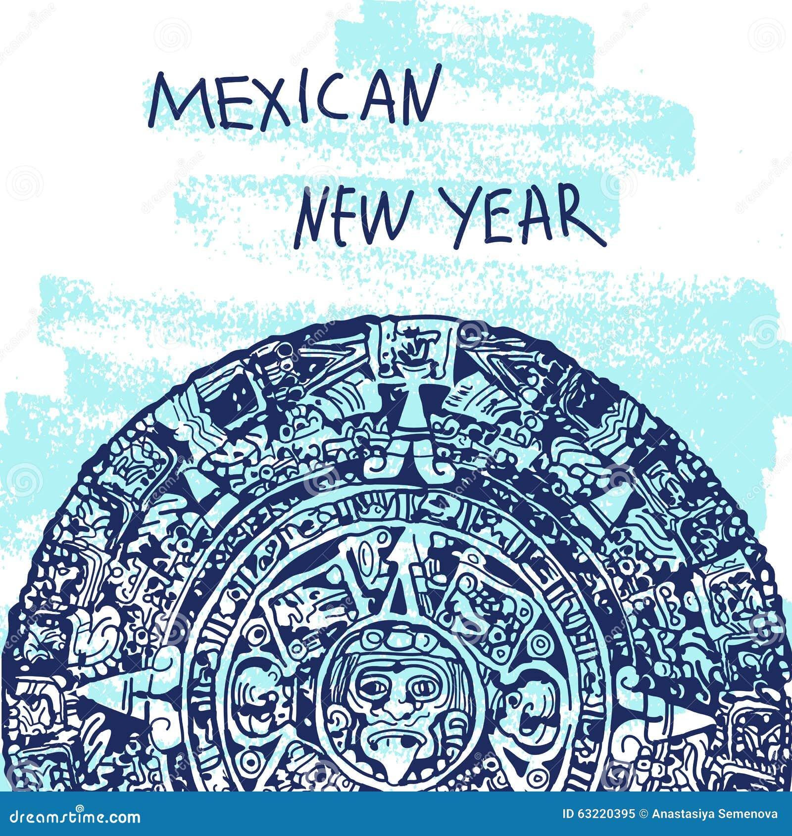 Nowego Roku wektoru ilustracja Światu Landmarck Sławne serie: Meksyk, Majski kalendarz, majowie Meksykański nowy rok