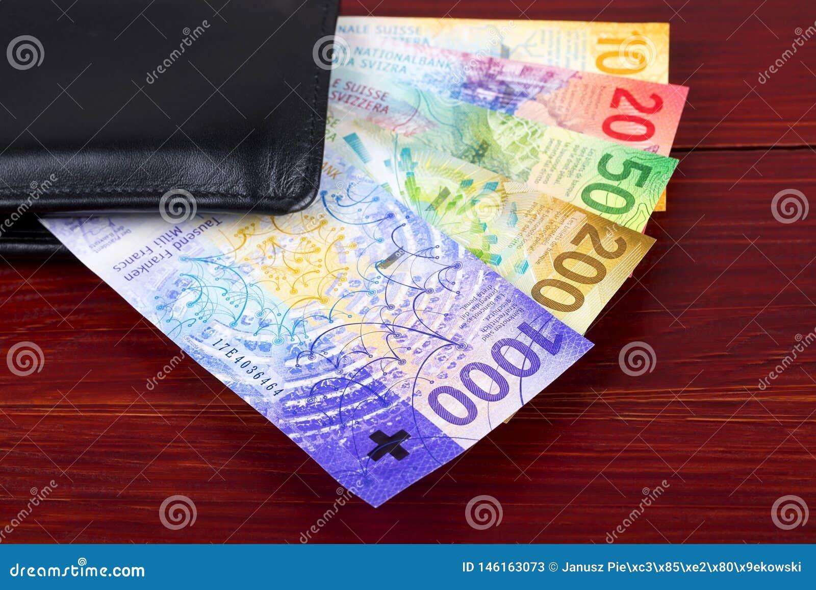 Nowi franki szwajcarscy w czarnym portflu
