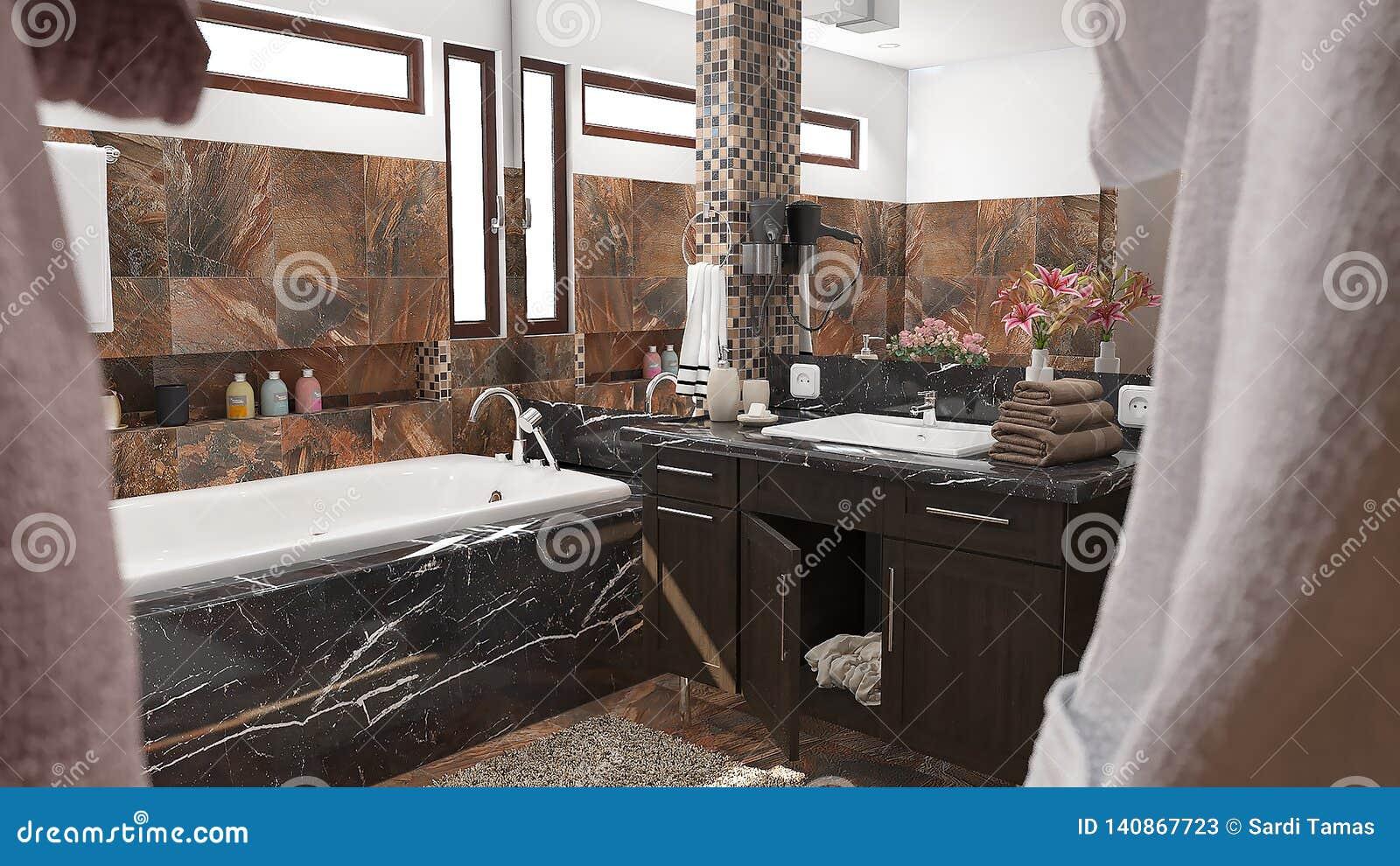Nowożytna łazienka z brąz płytkami i dużą lustra 3D ilustracją