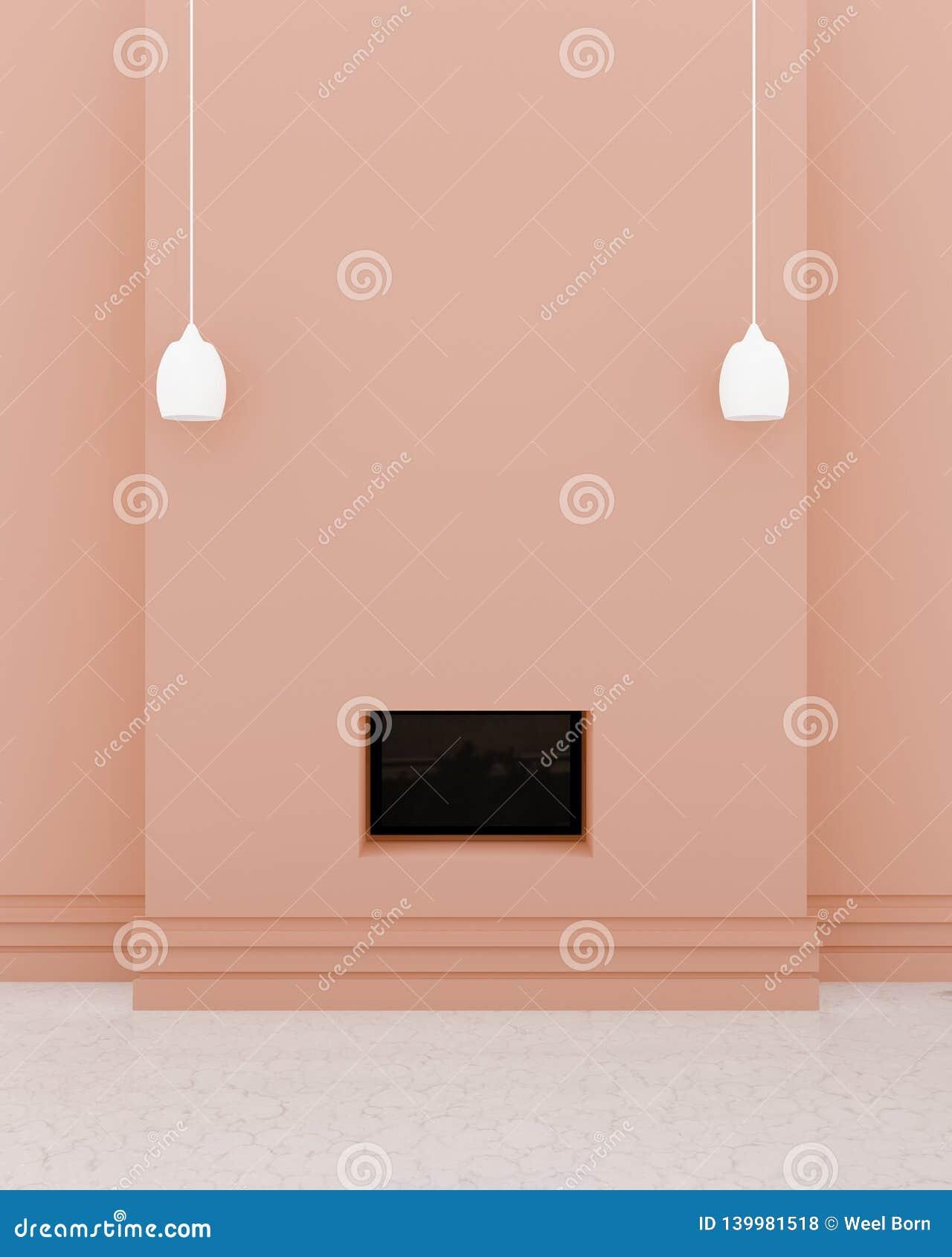 Nowożytny TV pokoju wnętrze, czarny TV w pomarańczowej ścianie, 2 lightshade na ścianie i marmur podłoga,