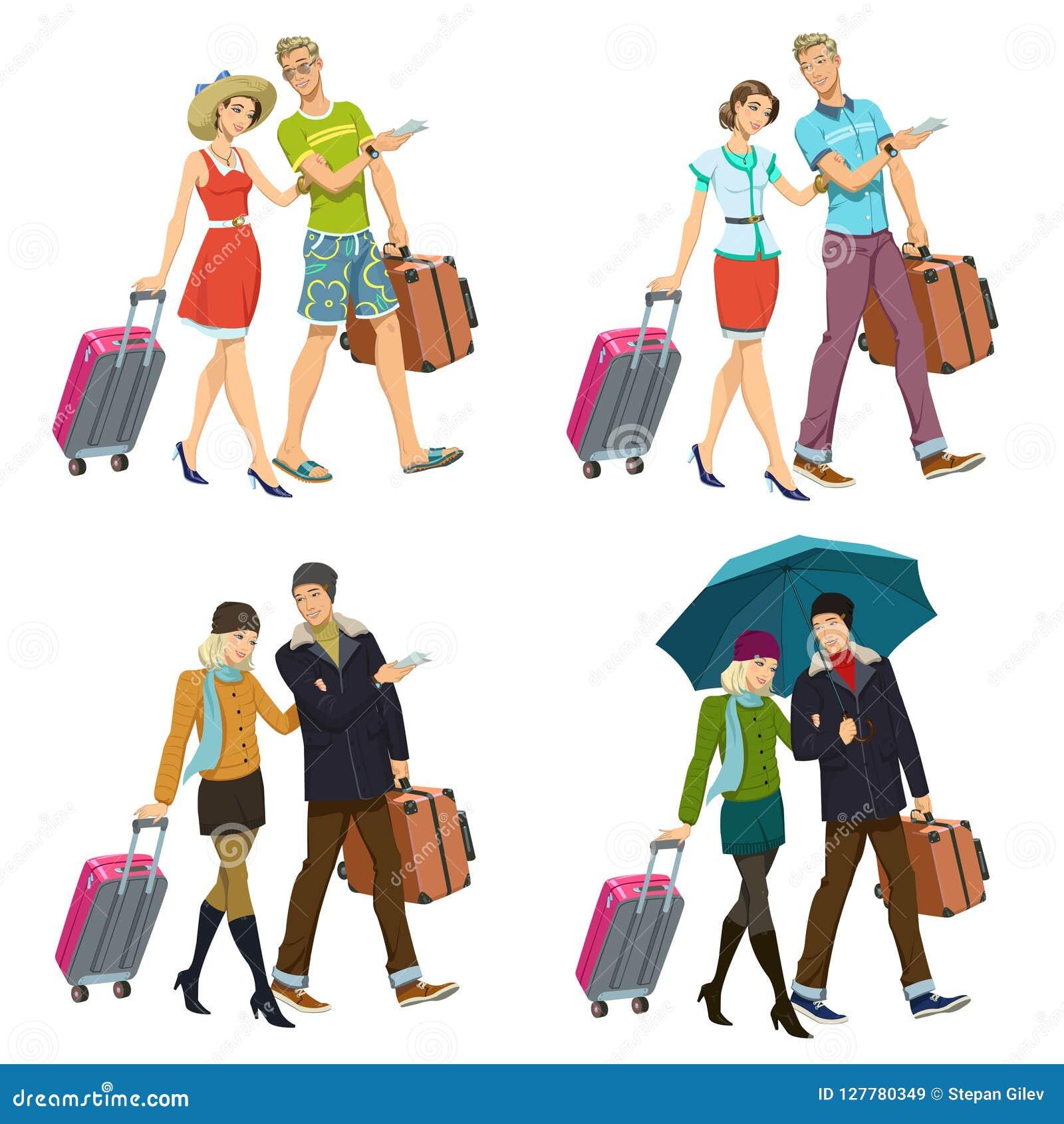 Nowożeńcy para z walizkami