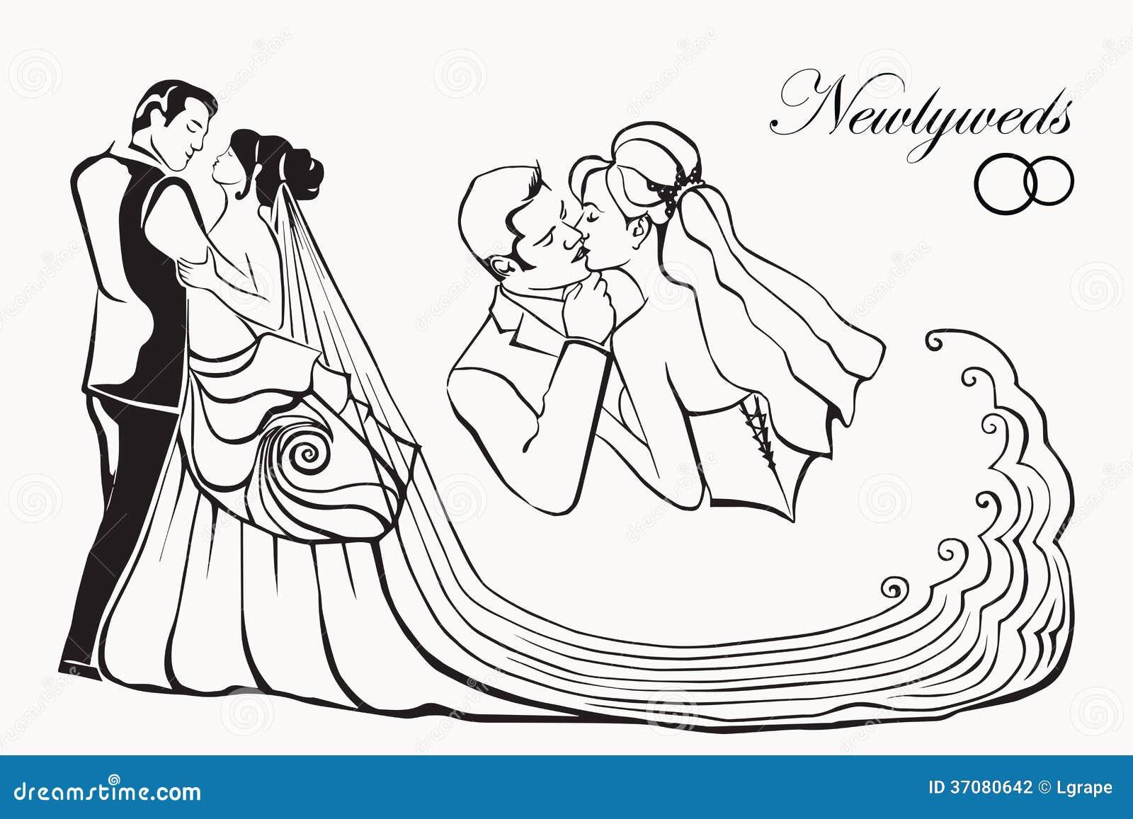 Download Nowożeńcy. Sylwetki Ludzie. Ilustracja Wektor - Ilustracja złożonej z fornal, miłość: 37080642