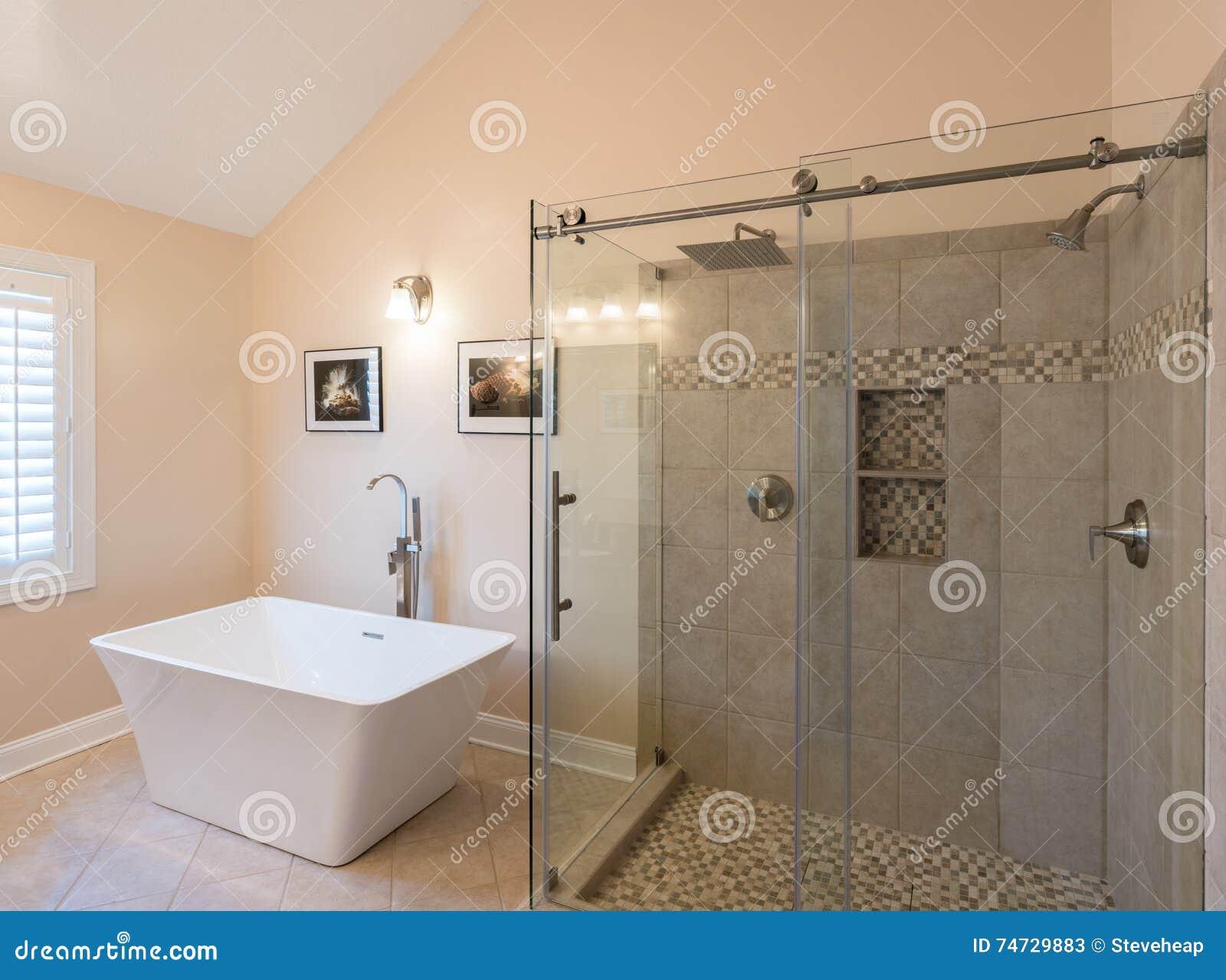 Nowożytna łazienka z freestanding prysznic i balią