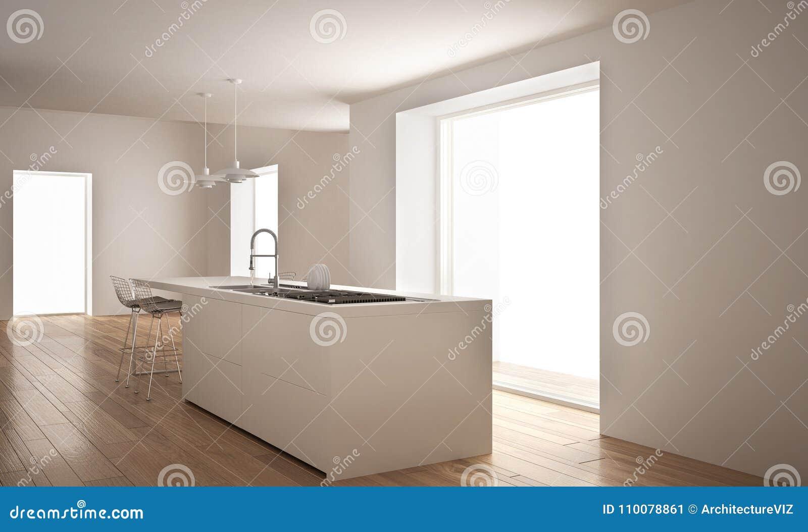 Nowożytna biała kuchnia z wyspą i dużym okno, minimalistyczny architektury wnętrze