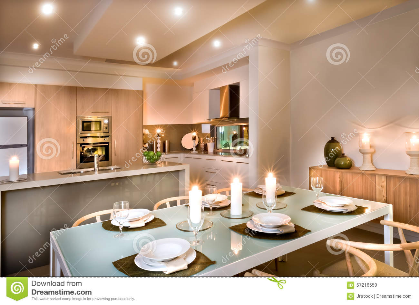 Nowożytna jadalnia i kuchnia