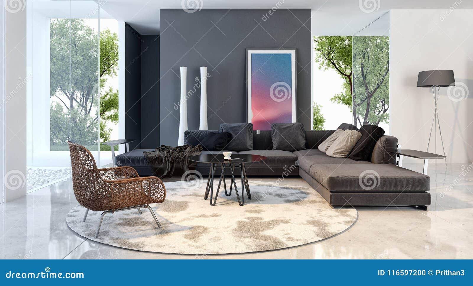 Nowożytna jaskrawa wnętrza mieszkania 3D renderingu ilustracja