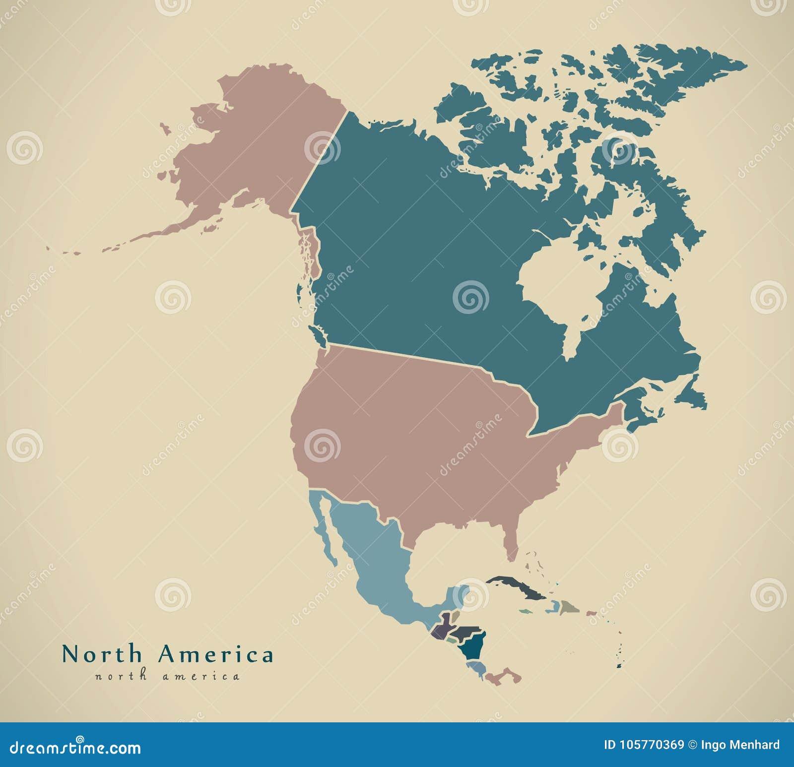 Nowożytna mapa - Północna Ameryka mapa z krajami barwiącymi uzupełnia