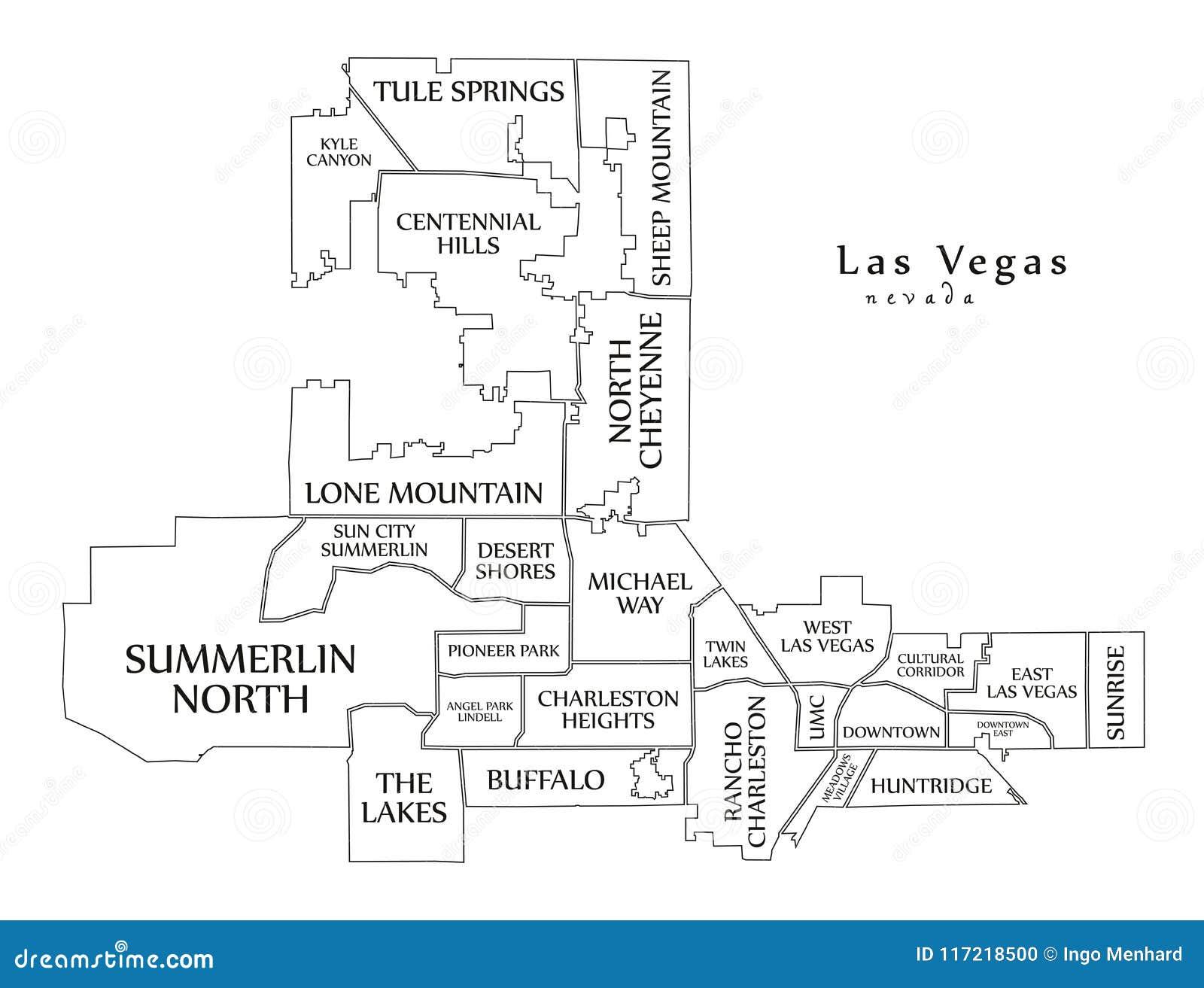 Nowozytna Miasto Mapa Las Vegas Nevada Usa Z Sasiad Miasto Ilustracja Wektor Ilustracja Zlozonej Z Miasto Vegas 117218500