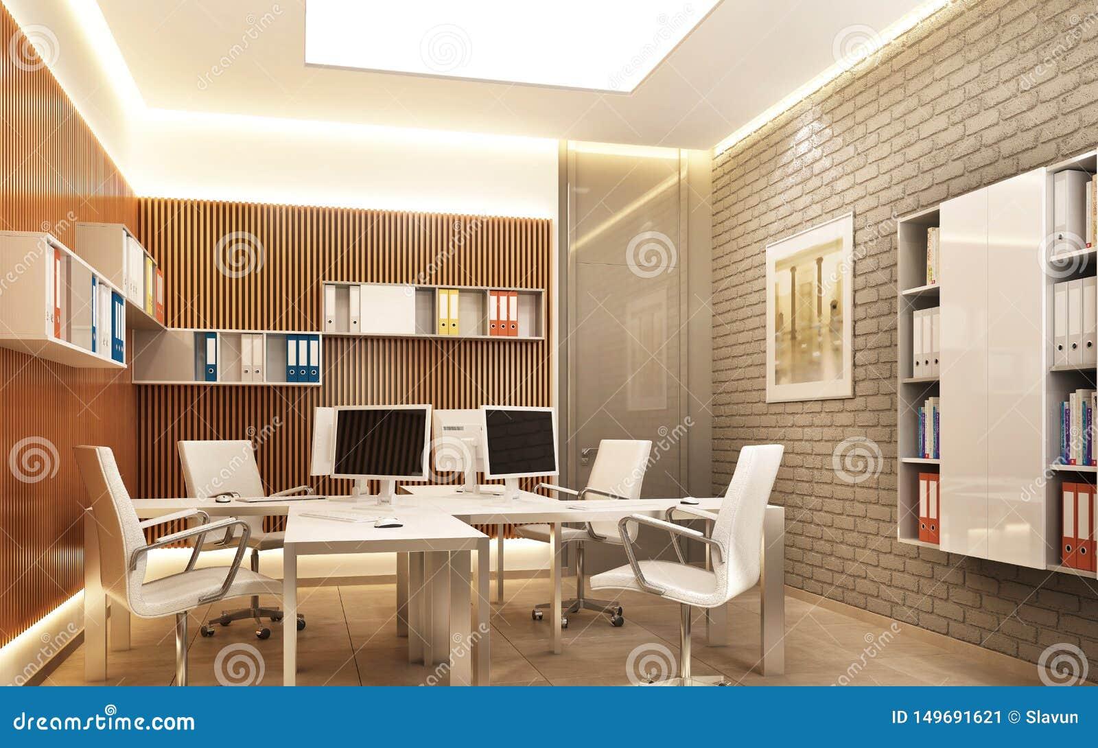 Nowożytna powierzchnia biurowa z ścianą z cegieł