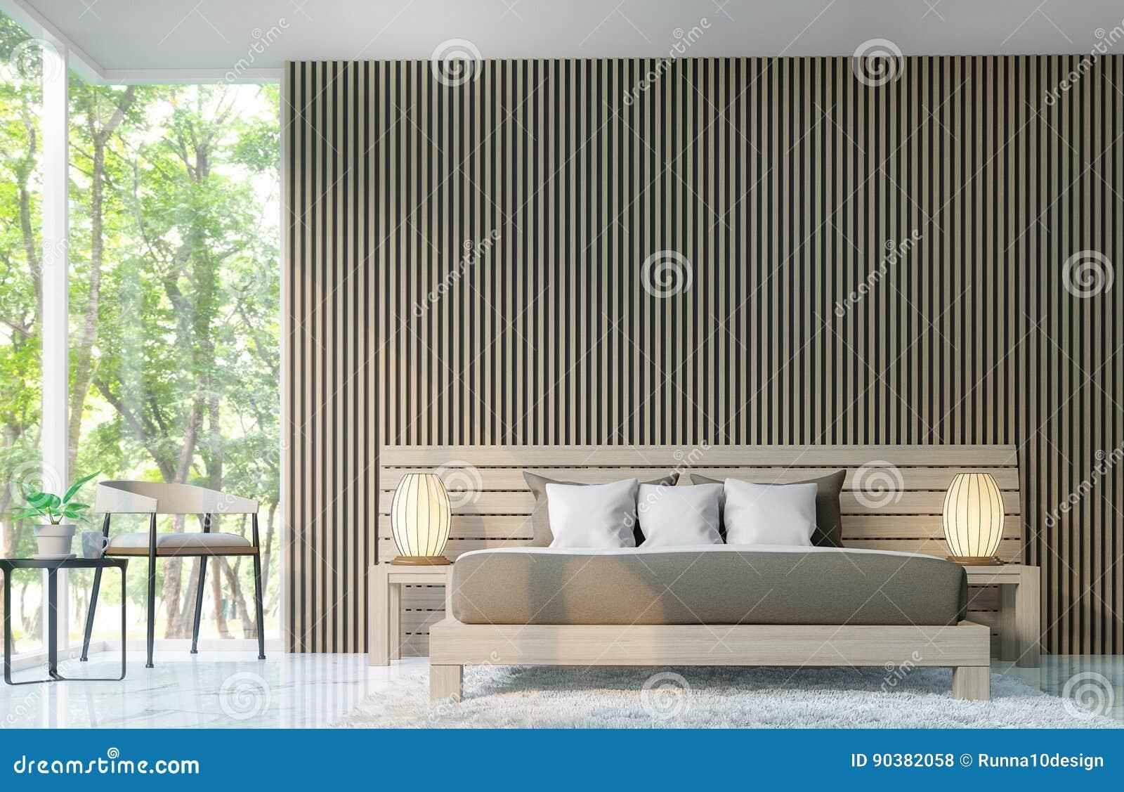 Nowozytna Sypialnia Dekoruje Sciany Z Drewnianym Kratownicy 3d