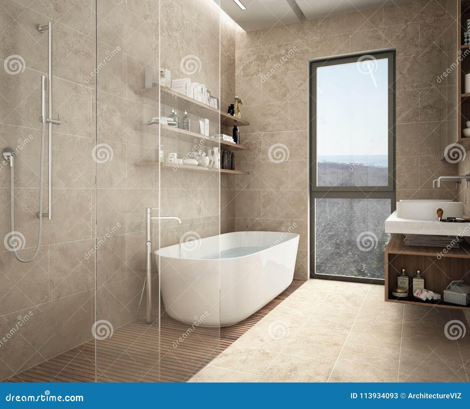 Nowożytna Wapień łazienka Wanna I Prysznic Odkłada Z