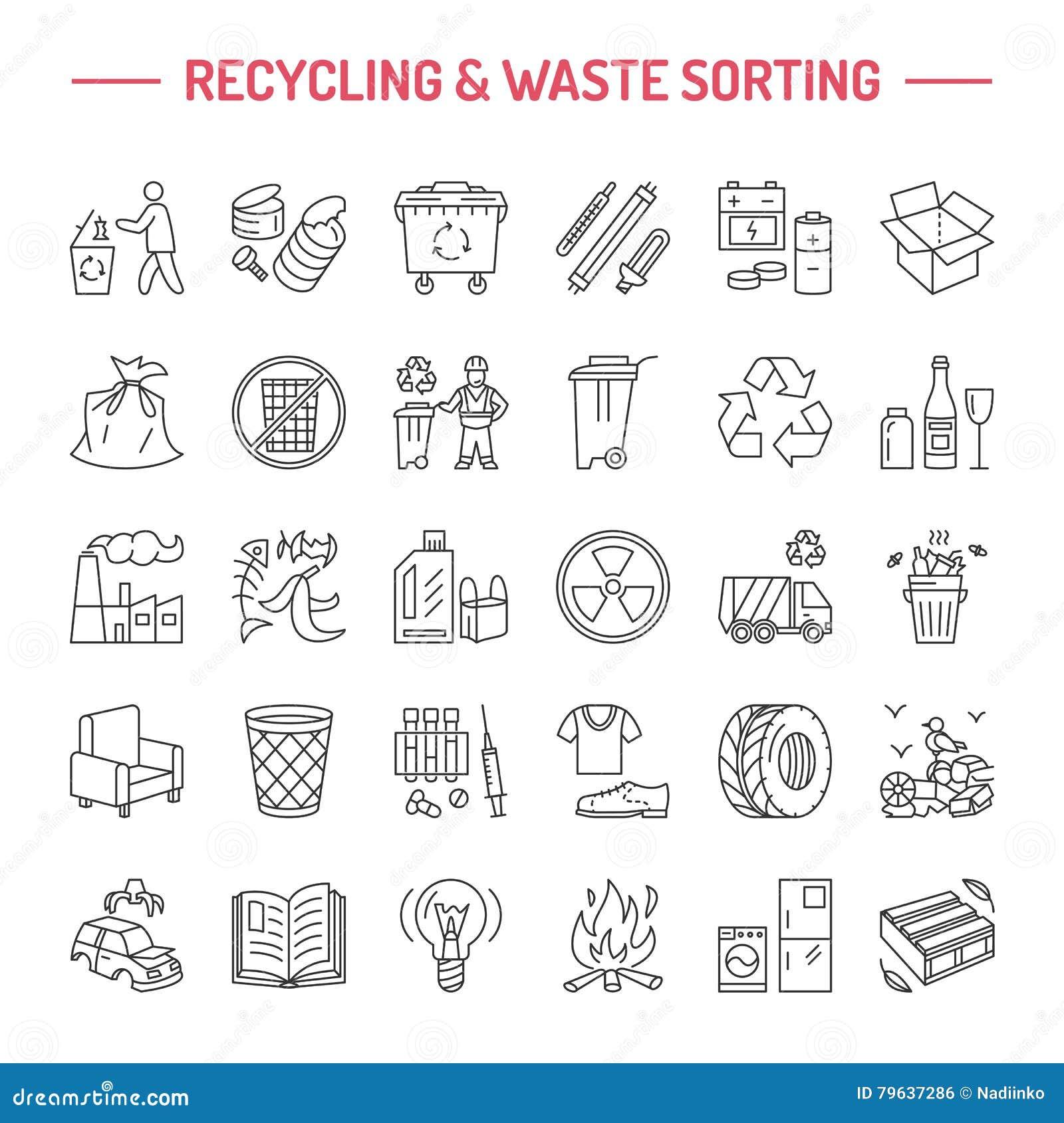 Nowożytna wektor linii ikona jałowy sortować, przetwarza Śmieciarska kolekcja Recyclable odpady - papier, szkło, klingeryt, metal