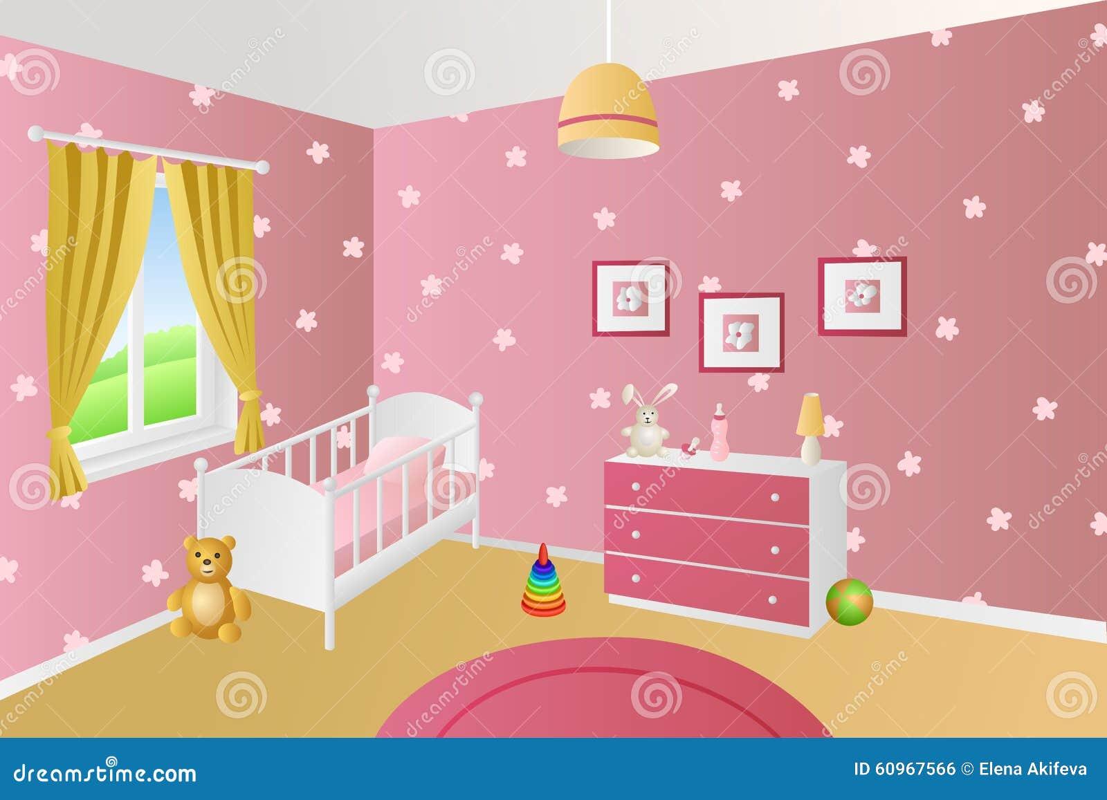Nowożytna wewnętrzna dziecko pokoju menchia bawi się białą łóżkową nadokienną ilustrację