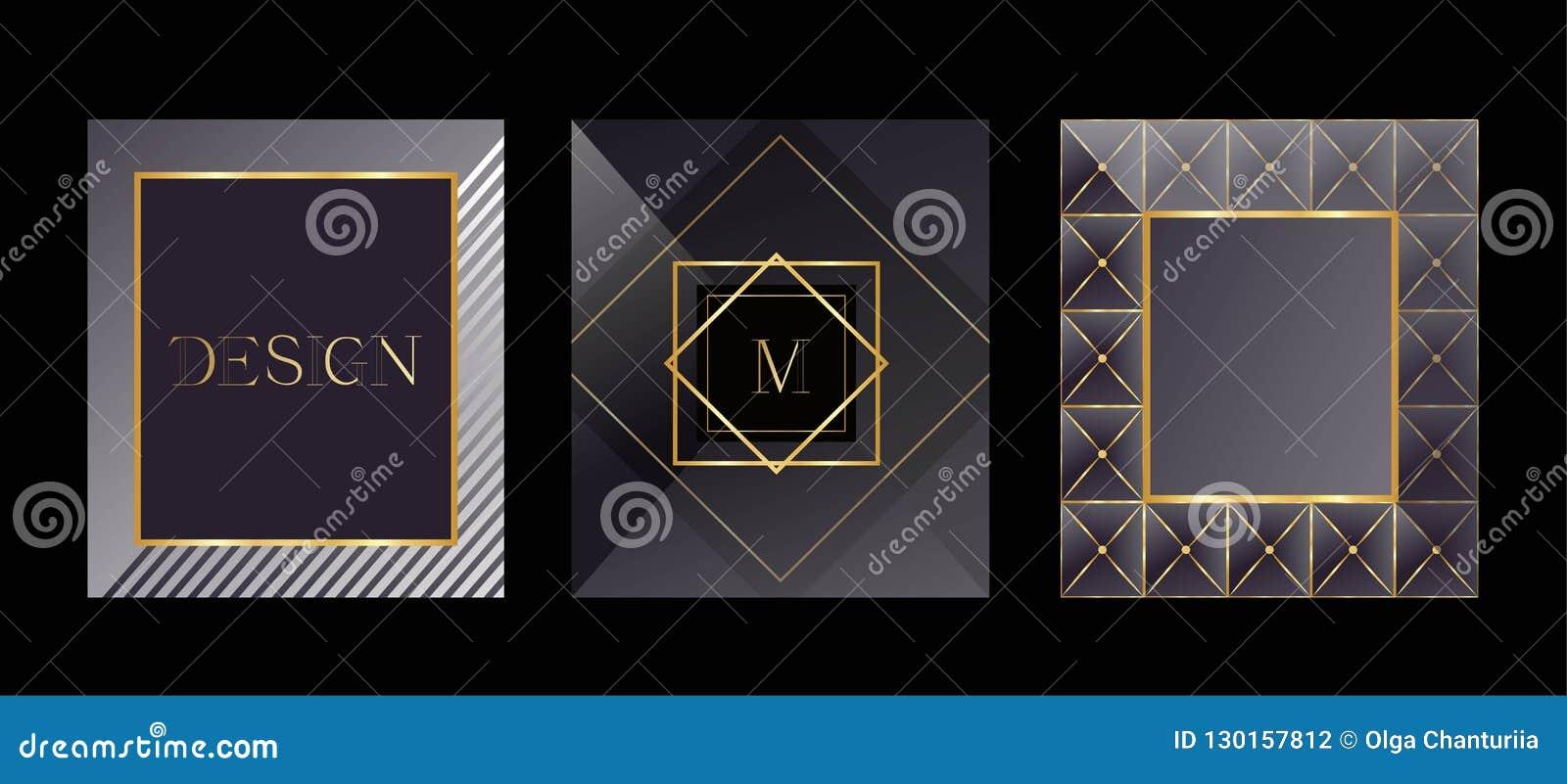 Nowożytne karty Pakować szablony dla luksusowych produktów Logo projekt, biznesu styl ramowy tekstu ilustracyjny wektora