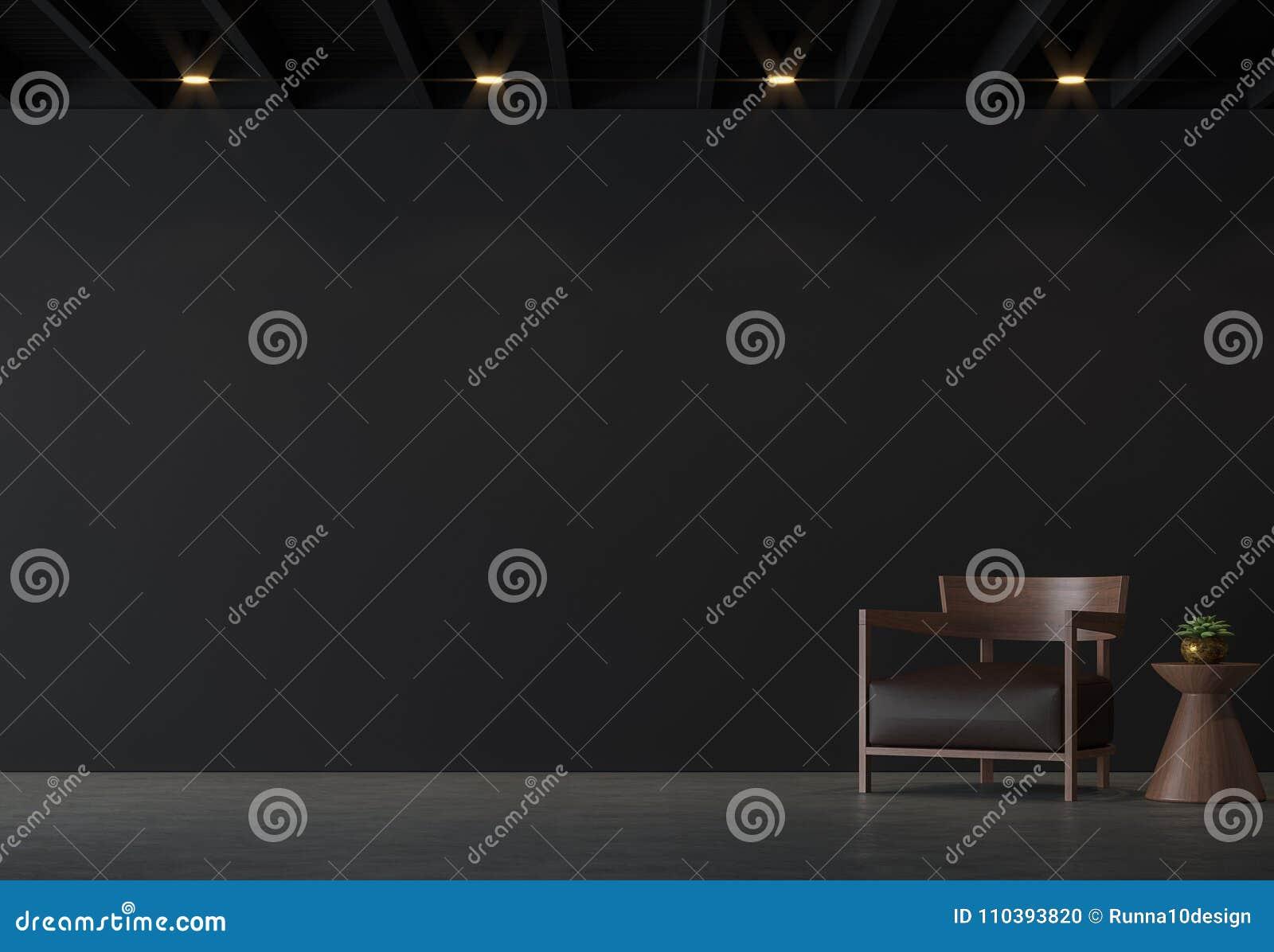 Nowożytnego loft żywy pokój z czerni ścianą z brown skóry i drewna 3d renderingu meblarskim wizerunkiem
