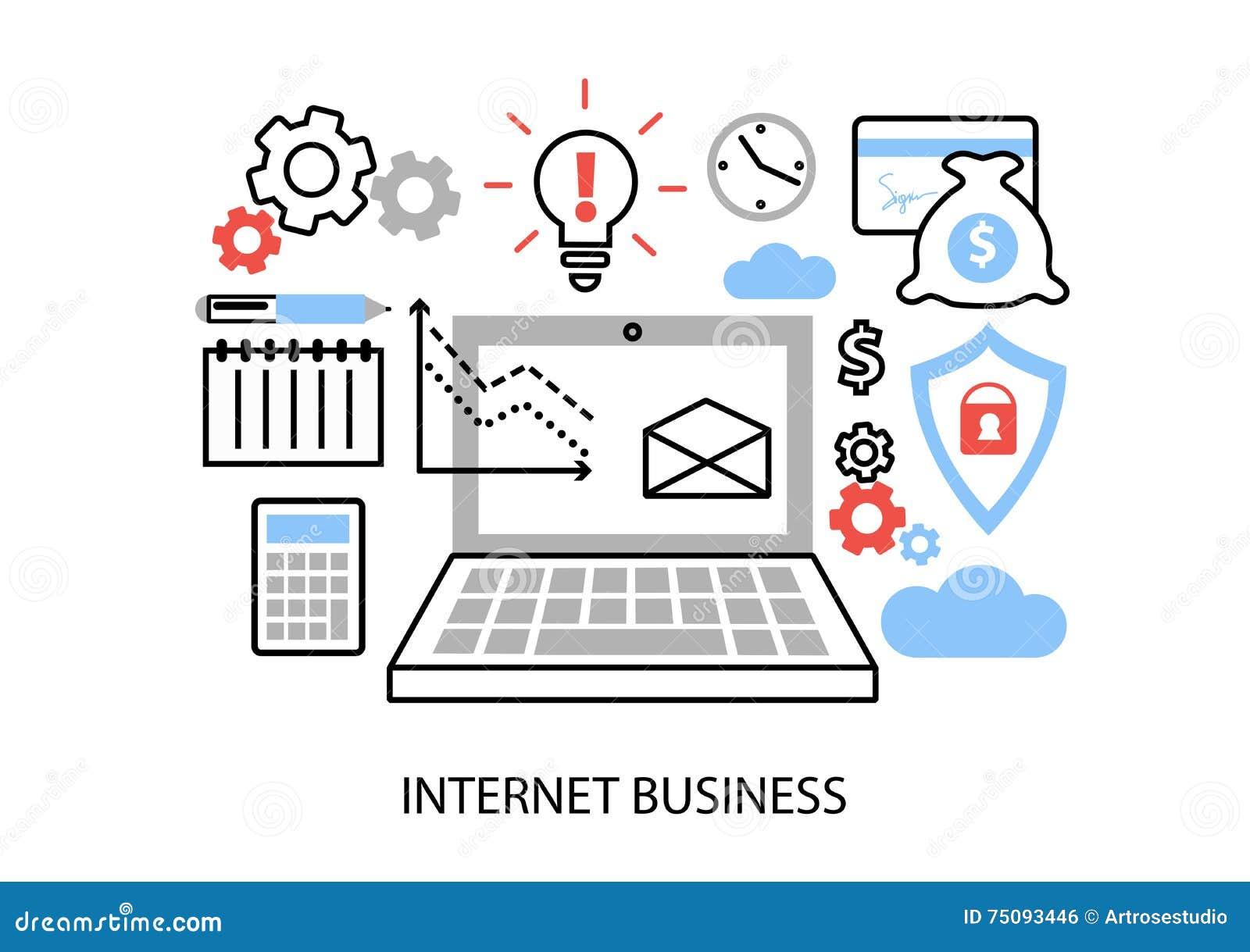 Nowożytnego mieszkanie cienkiego kreskowego projekta wektorowa ilustracja, infographic pojęcie interneta biznes, online zapłaty i