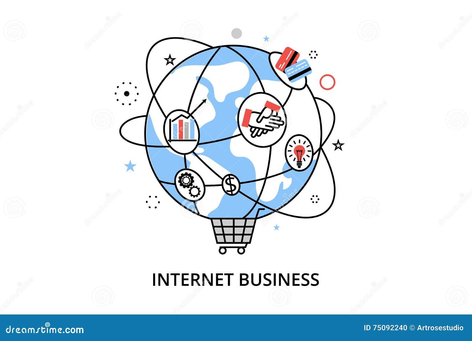 Nowożytnego mieszkanie cienkiego kreskowego projekta wektorowa ilustracja, infographic pojęcie z ikonami online biznes, interneta