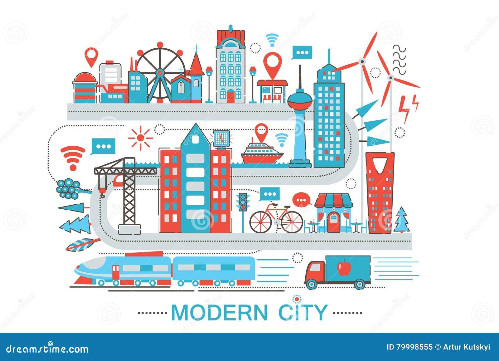 Nowożytnego Nowożytnego mądrze miasta mieszkania linii projekta stylu infographics graficzny pojęcie globalnej sieci technologia