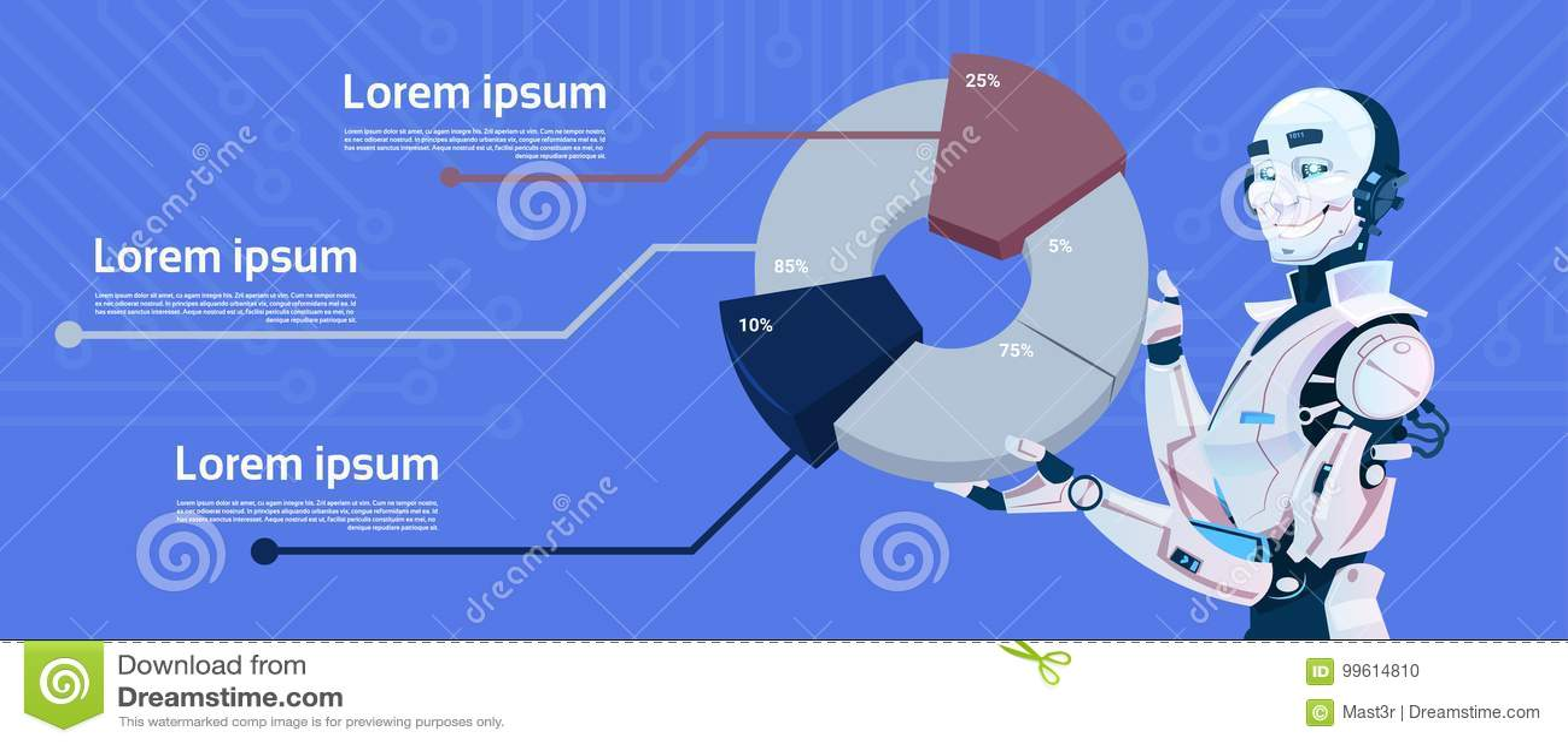 Nowożytnego robota chwyta Graficzny diagram, Futurystyczna Sztucznej inteligenci mechanizmu technologia