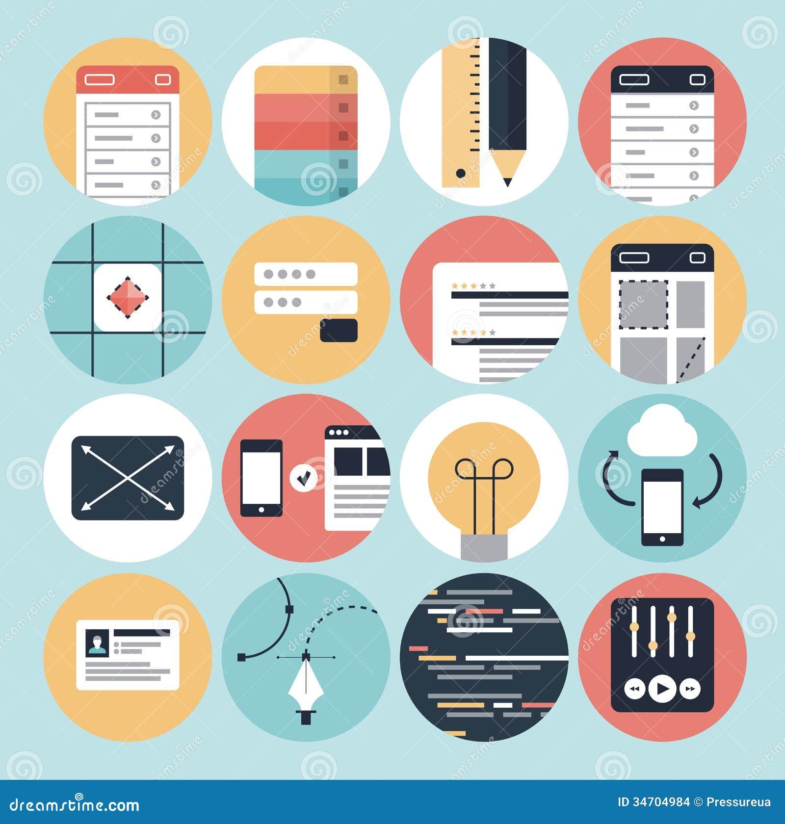 Nowożytnego sieć rozwoju i graficznego projekta ikony