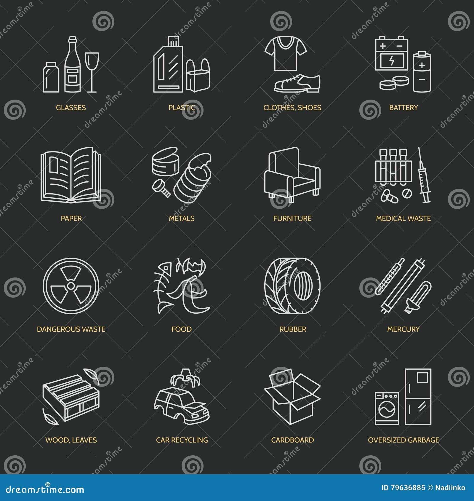 Nowożytnego wektoru cienkie kreskowe ikony jałowy sortować, przetwarza Śmieciarska kolekcja Recyclable grat - papier, szkło, klin