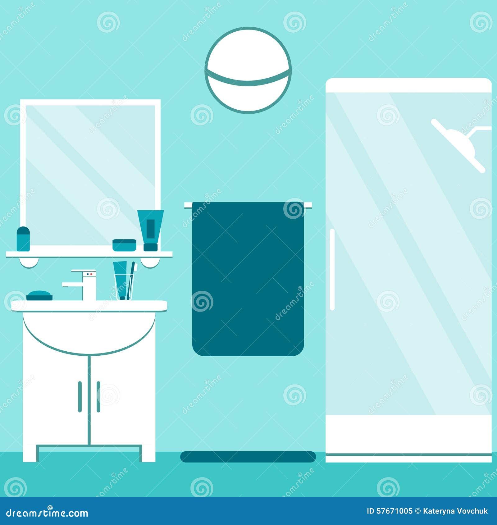 Nowożytnej łazienki wewnętrzny projekt w błękitnych i bielu kolorach Mieszkanie łazienki stylowi elementy: washbasin, prysznic, l