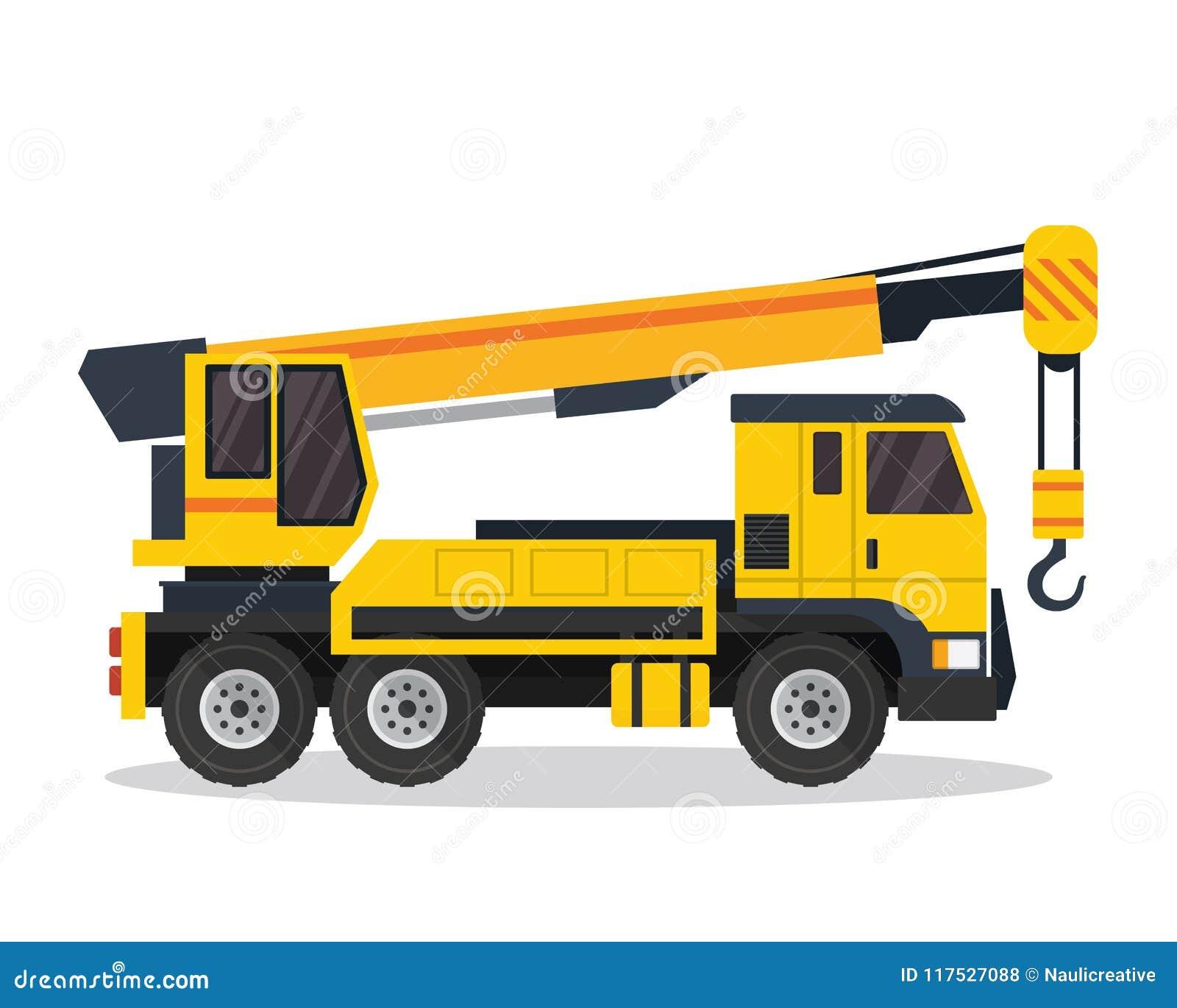 Nowożytnej żuraw ciężarówki budowy pojazdu Płaska ilustracja