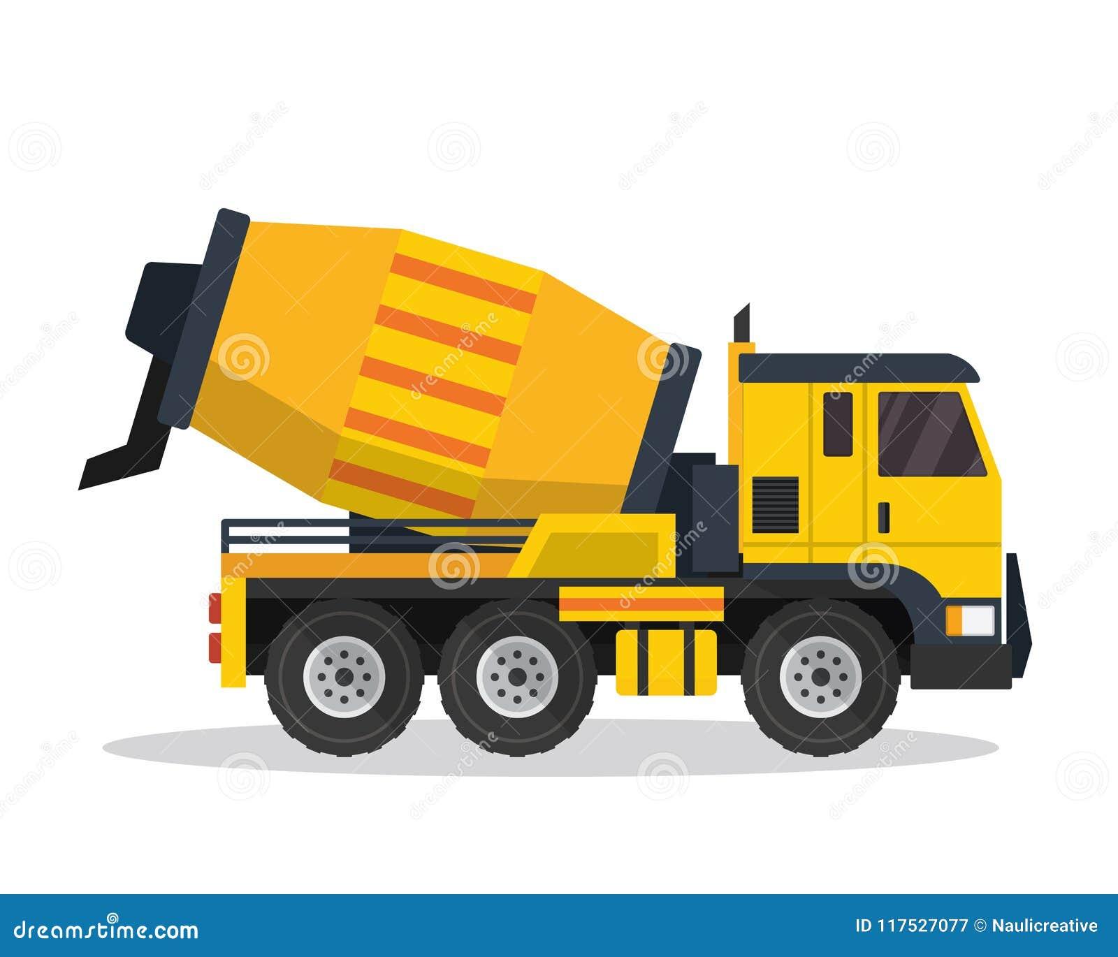 Nowożytnej Cementowego melanżeru ciężarówki budowy pojazdu Płaska ilustracja