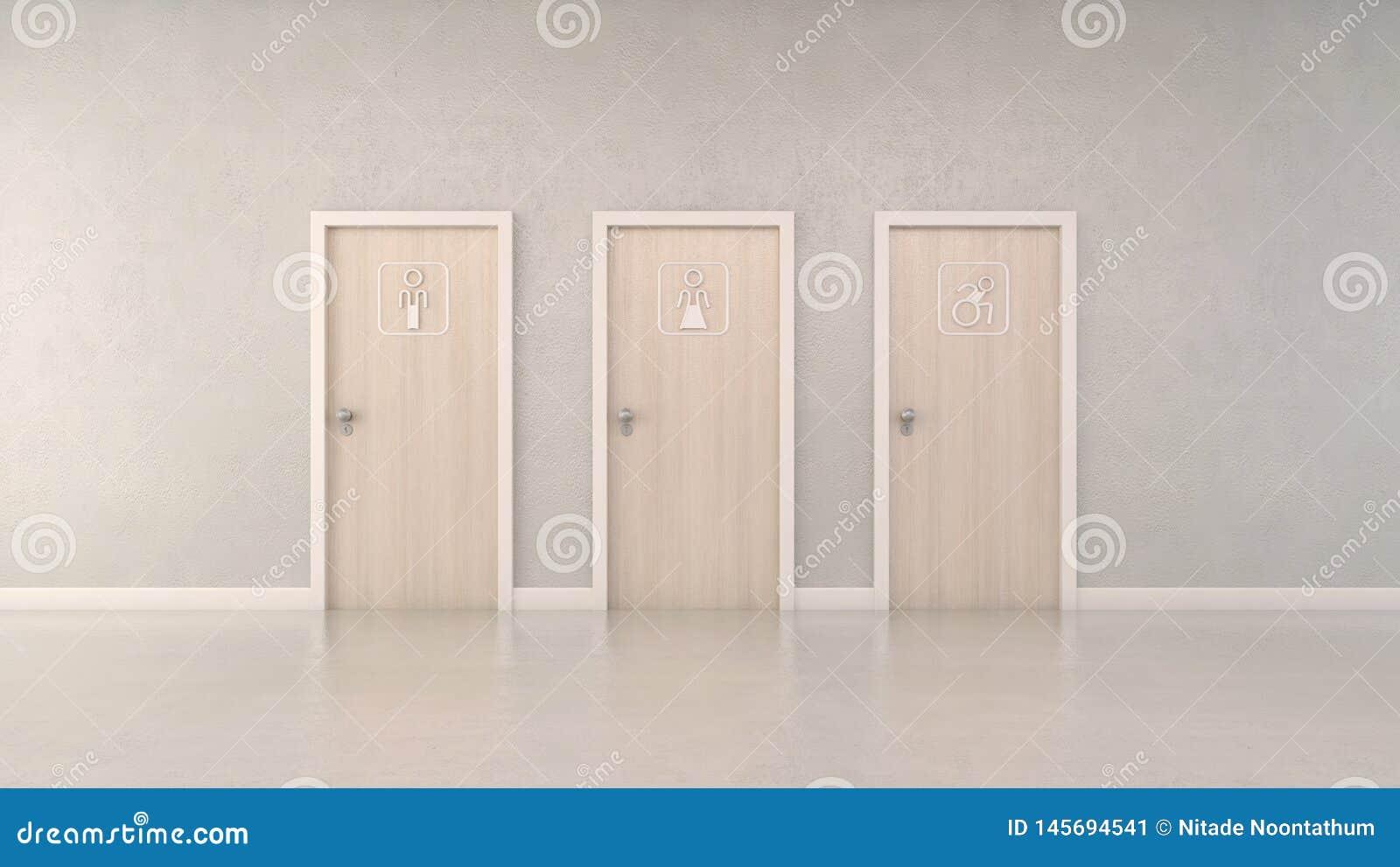 Nowożytni drzewni toaletowi drzwi i piktogram