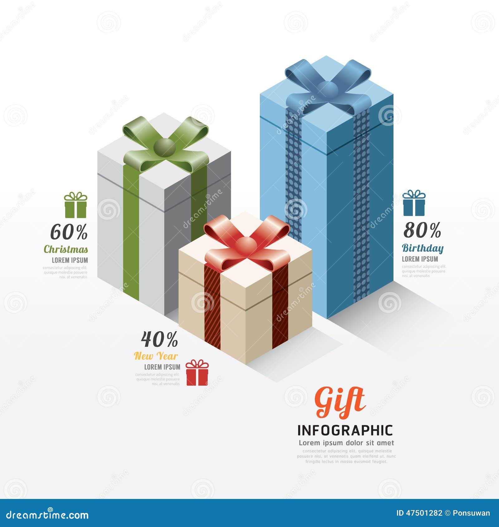 Nowożytni prezenta pudełka infographics elementy Projekta wektoru illustratio