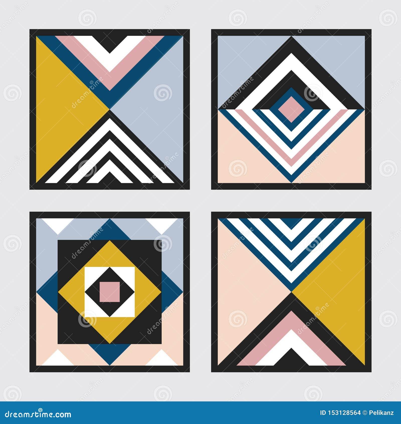 Nowożytni retro kolory geometrical kwadrat i trójbok taflują ramy deseniują set na szarość