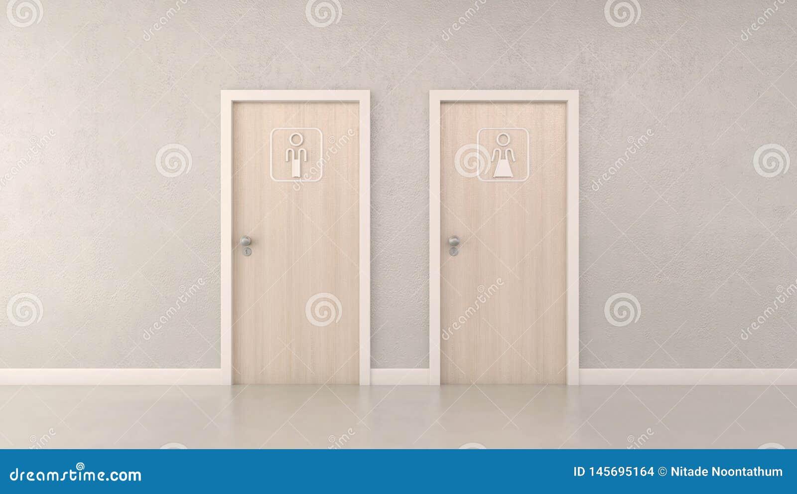 Nowożytni toaletowi drzwi i piktogram