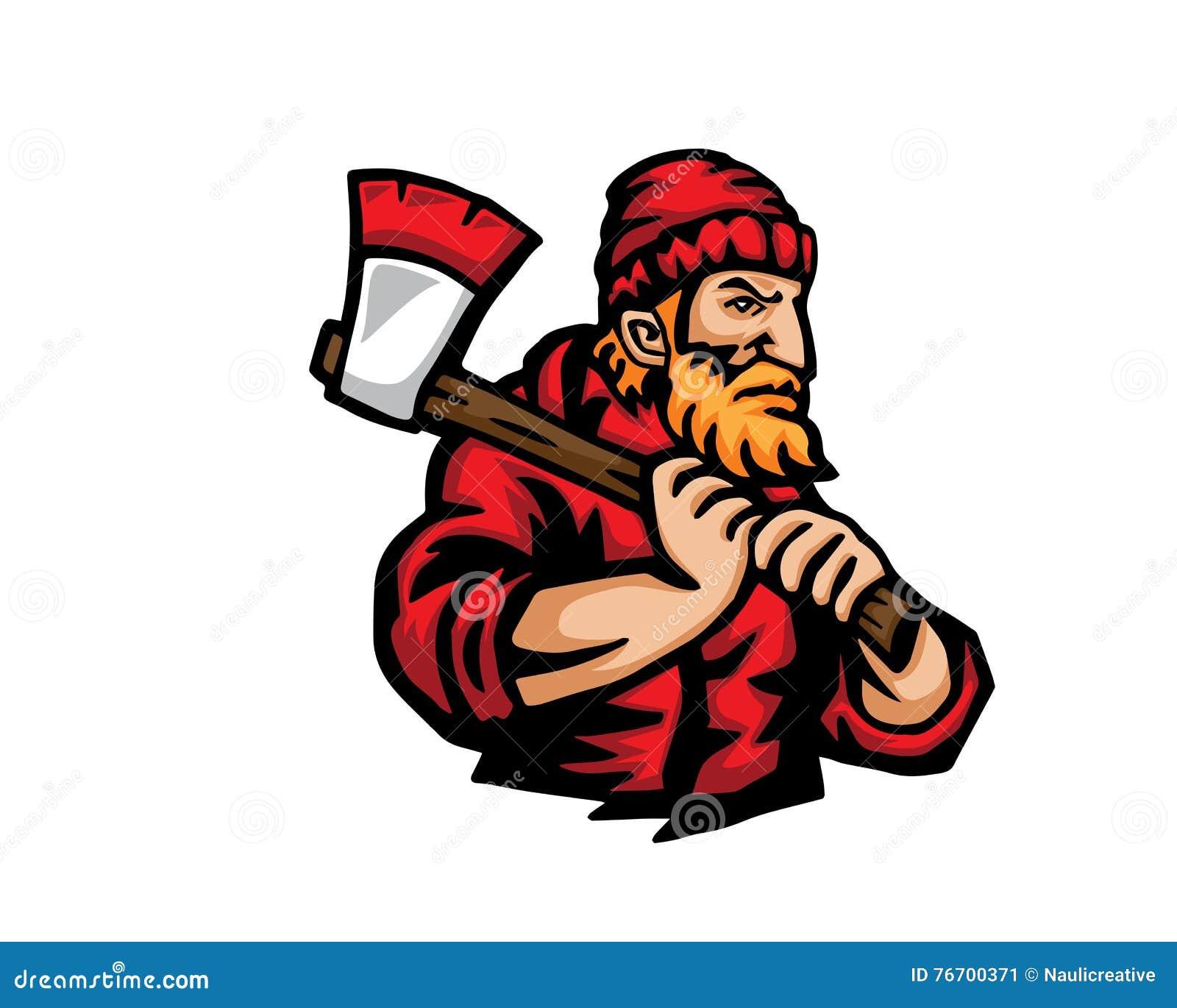 Nowożytni zajęcie kreskówki loga ludzie - Lumberjack