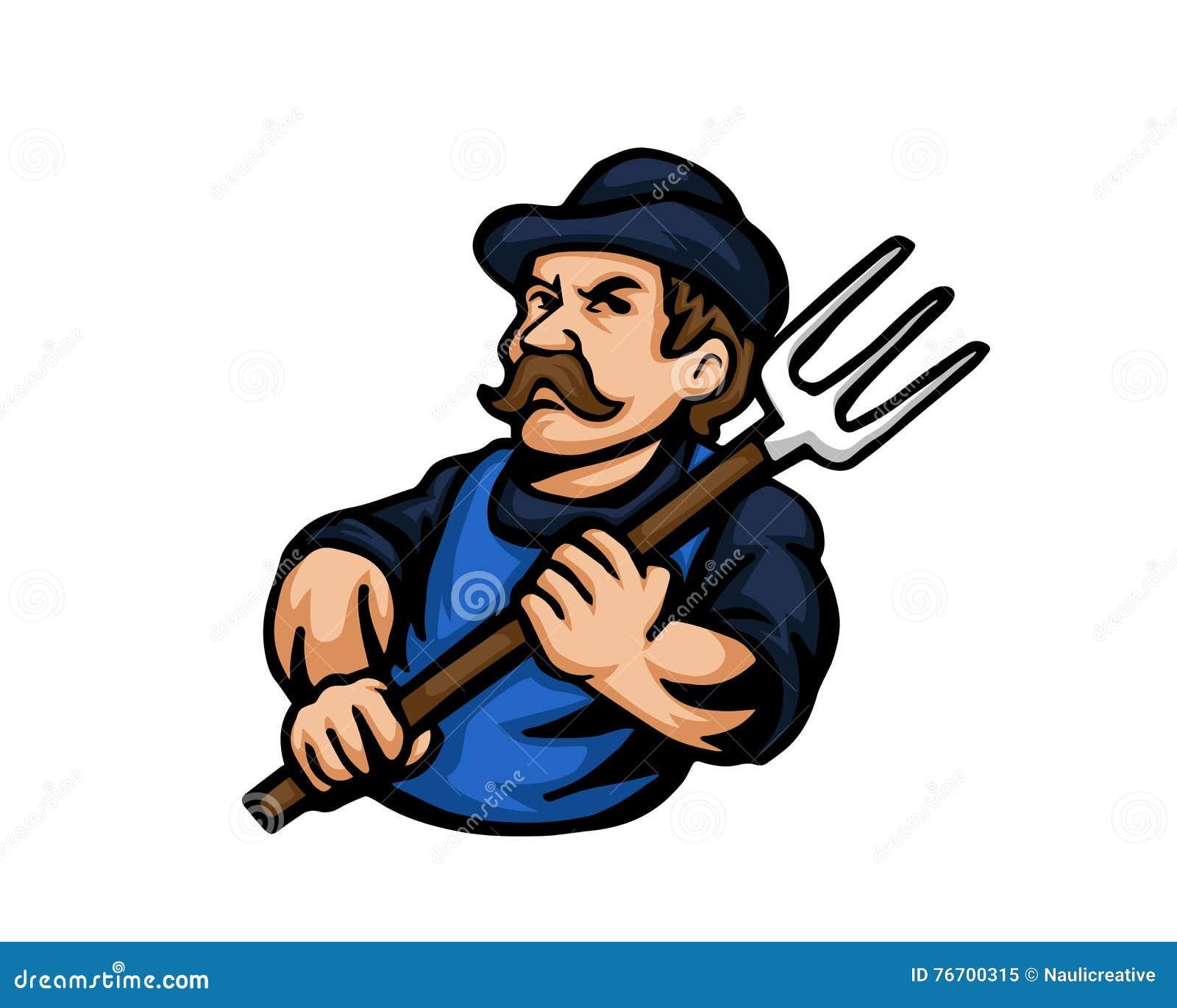 Nowożytni zajęcie kreskówki loga ludzie - rolnik
