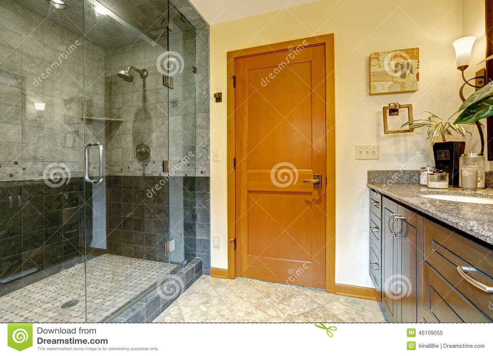 Nowożytny łazienki wnętrze z szklaną drzwiową prysznic