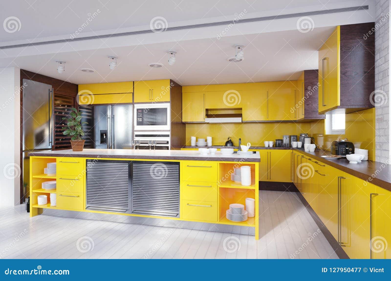 Nowożytny żółty kolor kuchni wnętrze