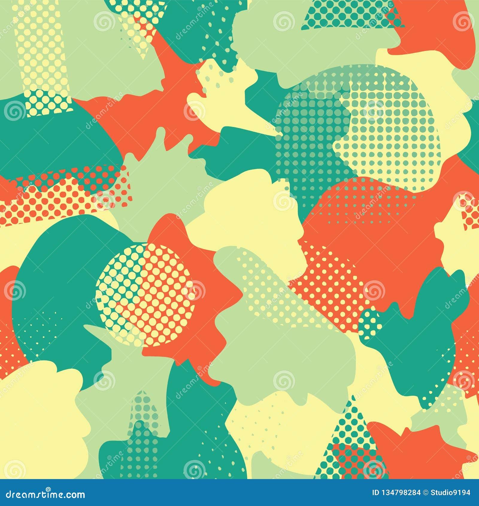 Nowożytny abstrakt kształtuje bezszwowego wektorowego tło Turkus, cyraneczka, zieleń, kolor żółty i pomarańczowi kamuflaży kształ