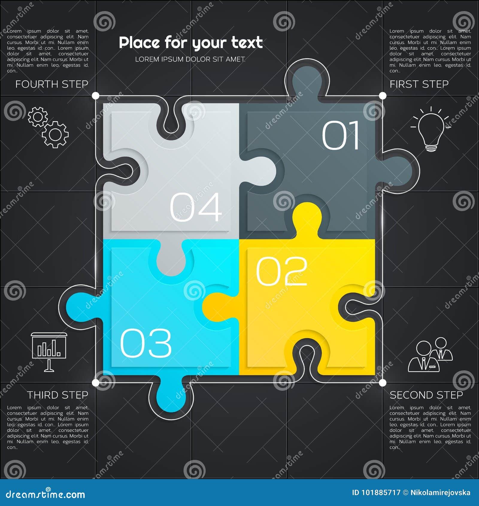 Nowożytny biznesowy infographic dla twój prezentaci cztery kawałka łamigłówka wektor