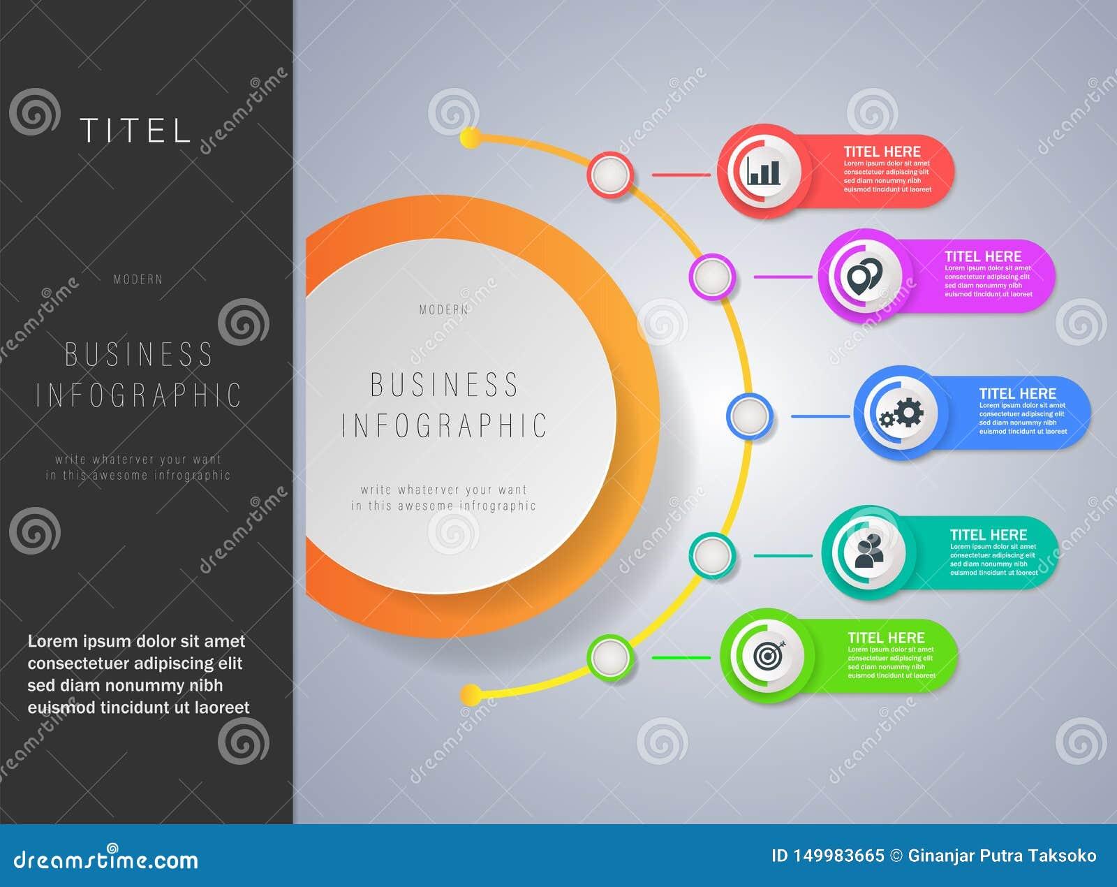 Nowożytny biznesowy infographics szablon z 3d papieru etykietką