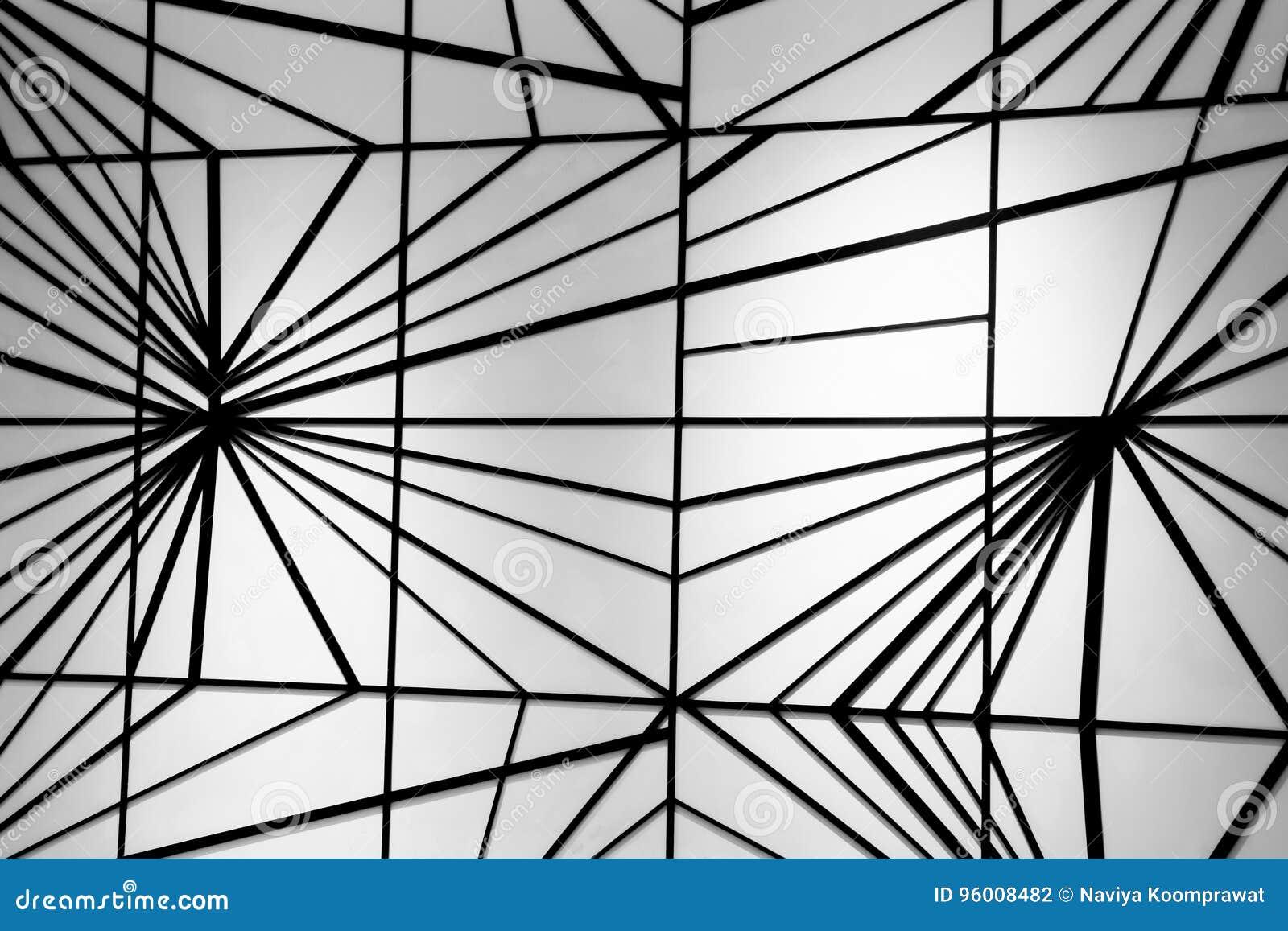 Nowożytny czerni linii wzór na biel ścianie