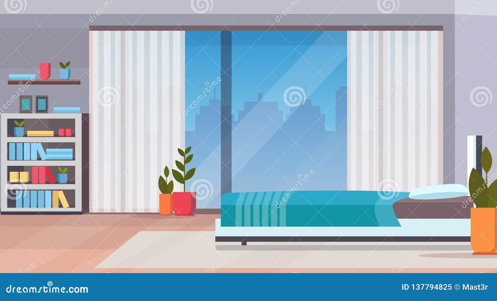 Nowożytny domowy sypialnia wewnętrznego projekta współczesny łóżkowy pokój no opróżnia żadny ludzi mieszkanie pejzażu miejskiego