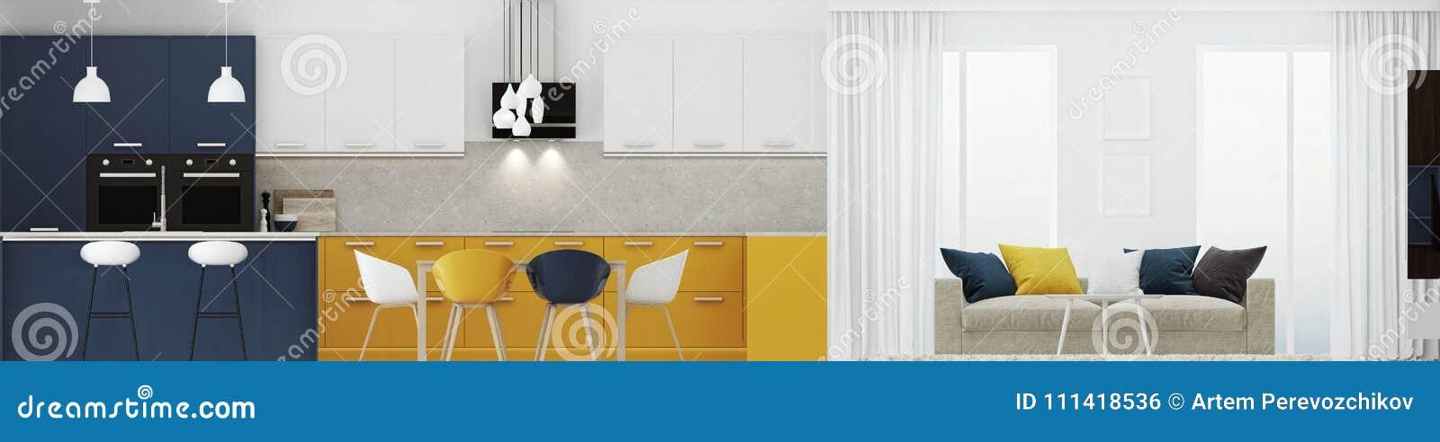 Nowożytny domowy wnętrze z żółtą kuchnią świadczenia 3 d