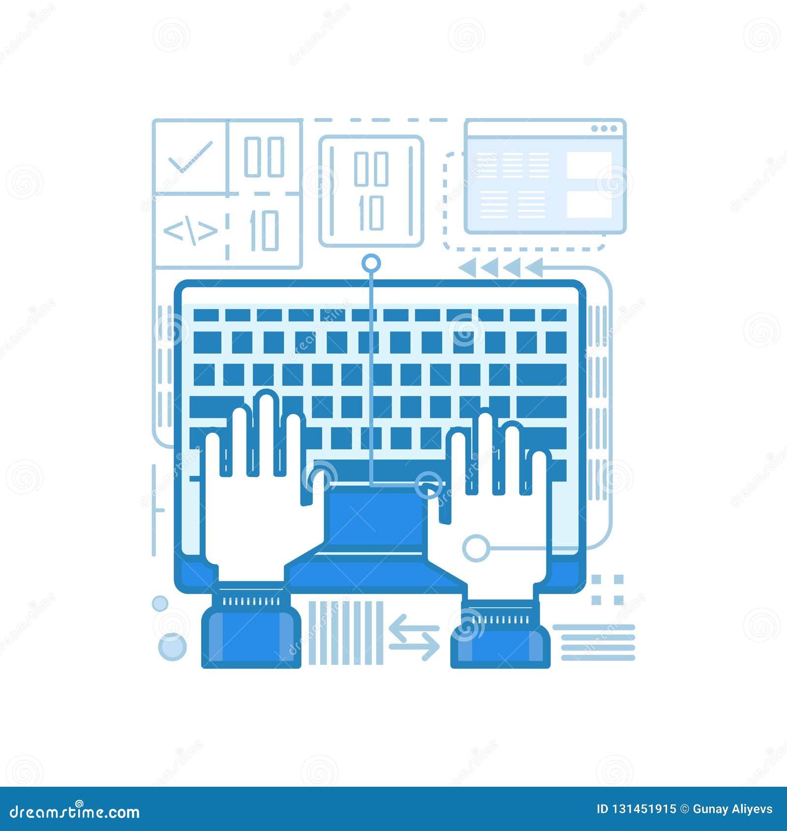 Nowożytny gładki cyfrowanie, programista, pisać na maszynie projekt ikony dla sieci, Graficzny projekt, Ui projekt, rozwój i etc,