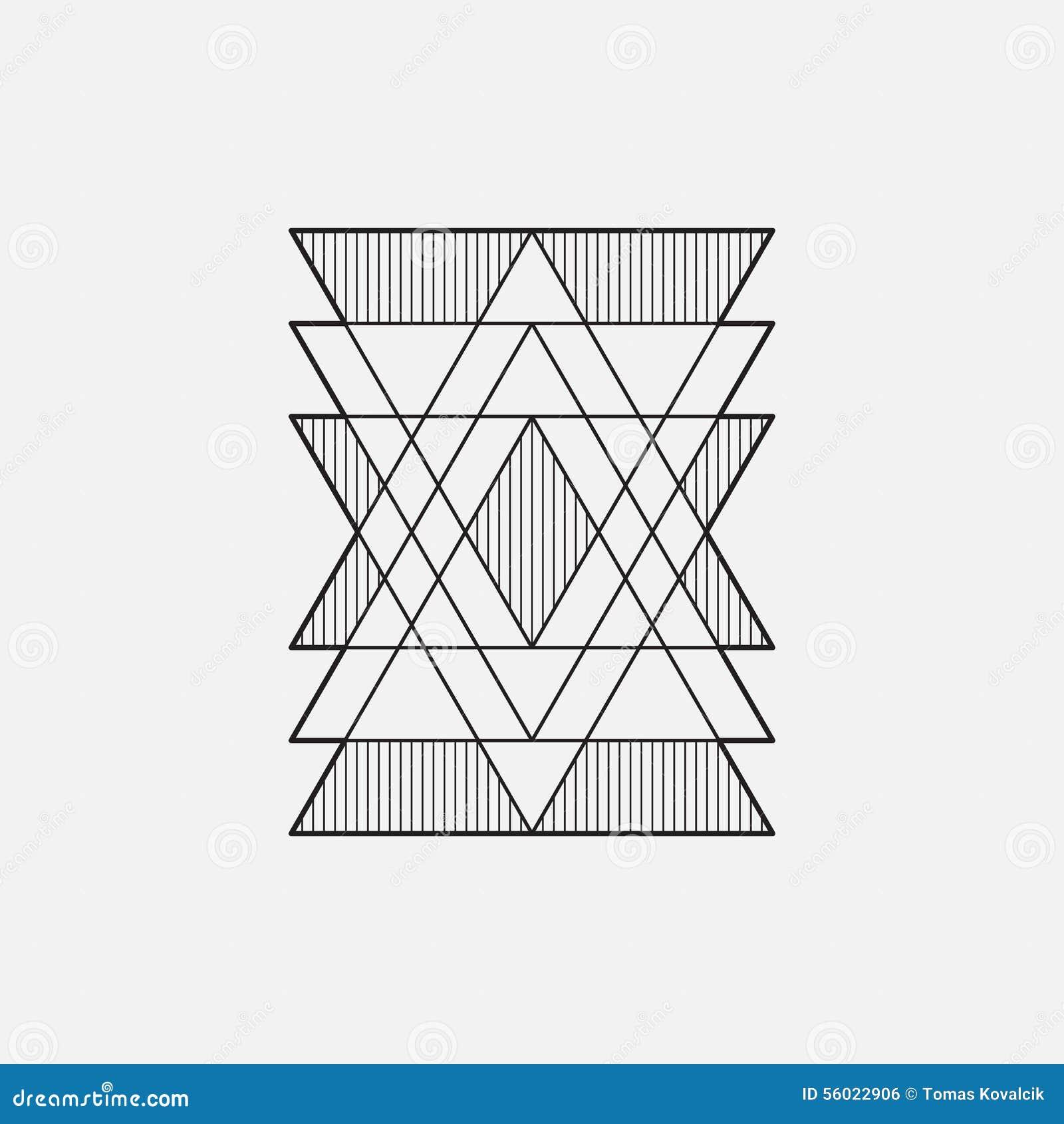 Nowożytny geometryczny symbol, kreskowy projekt, wektor, trójboki