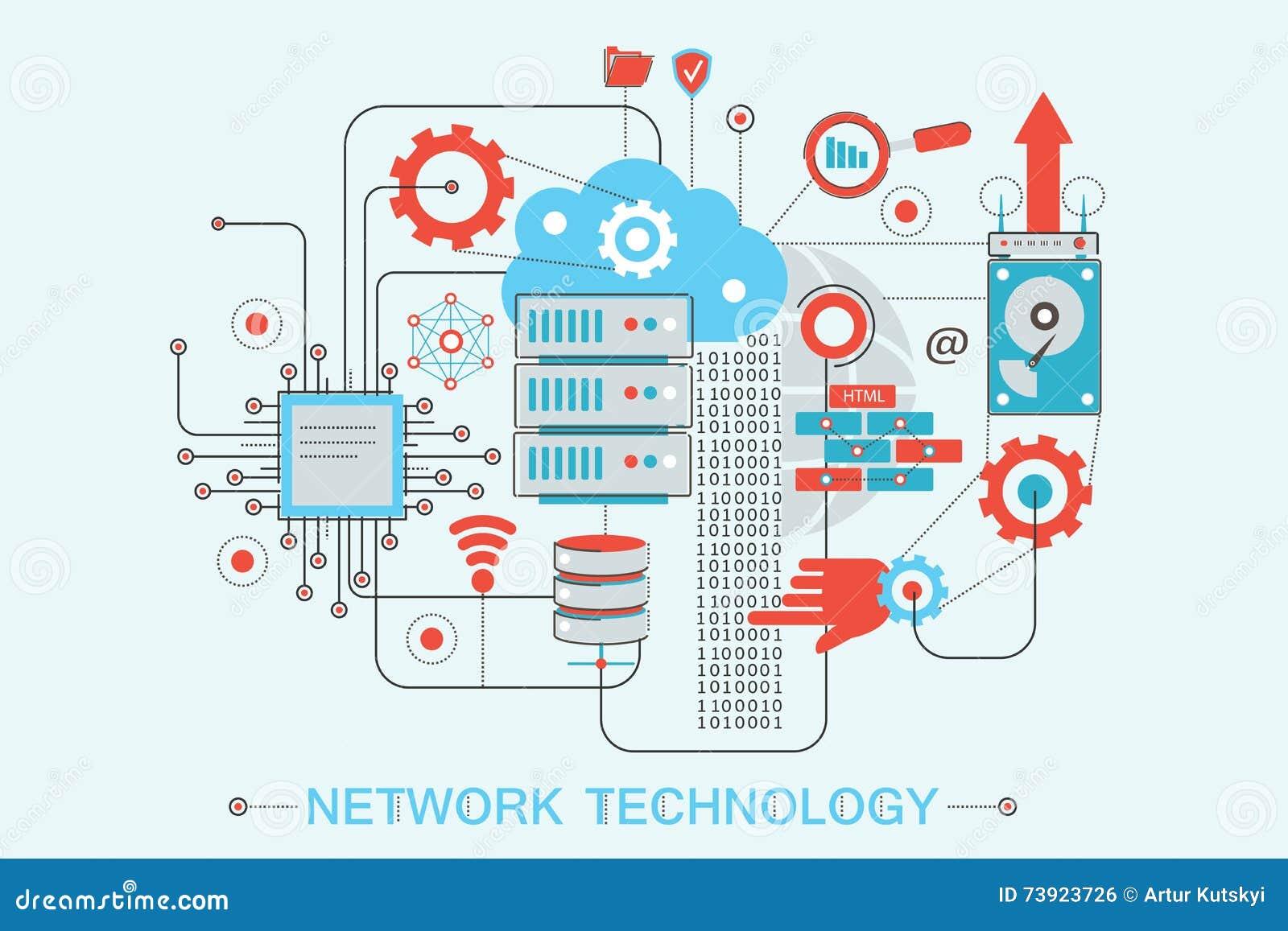 Nowożytny graficzny mieszkanie linii projekta stylu infographics pojęcie globalnej sieci technologia