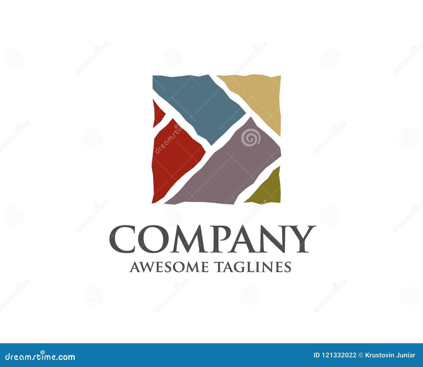 Nowożytny i prosty dachówkowy drewniany posadzkowy logo